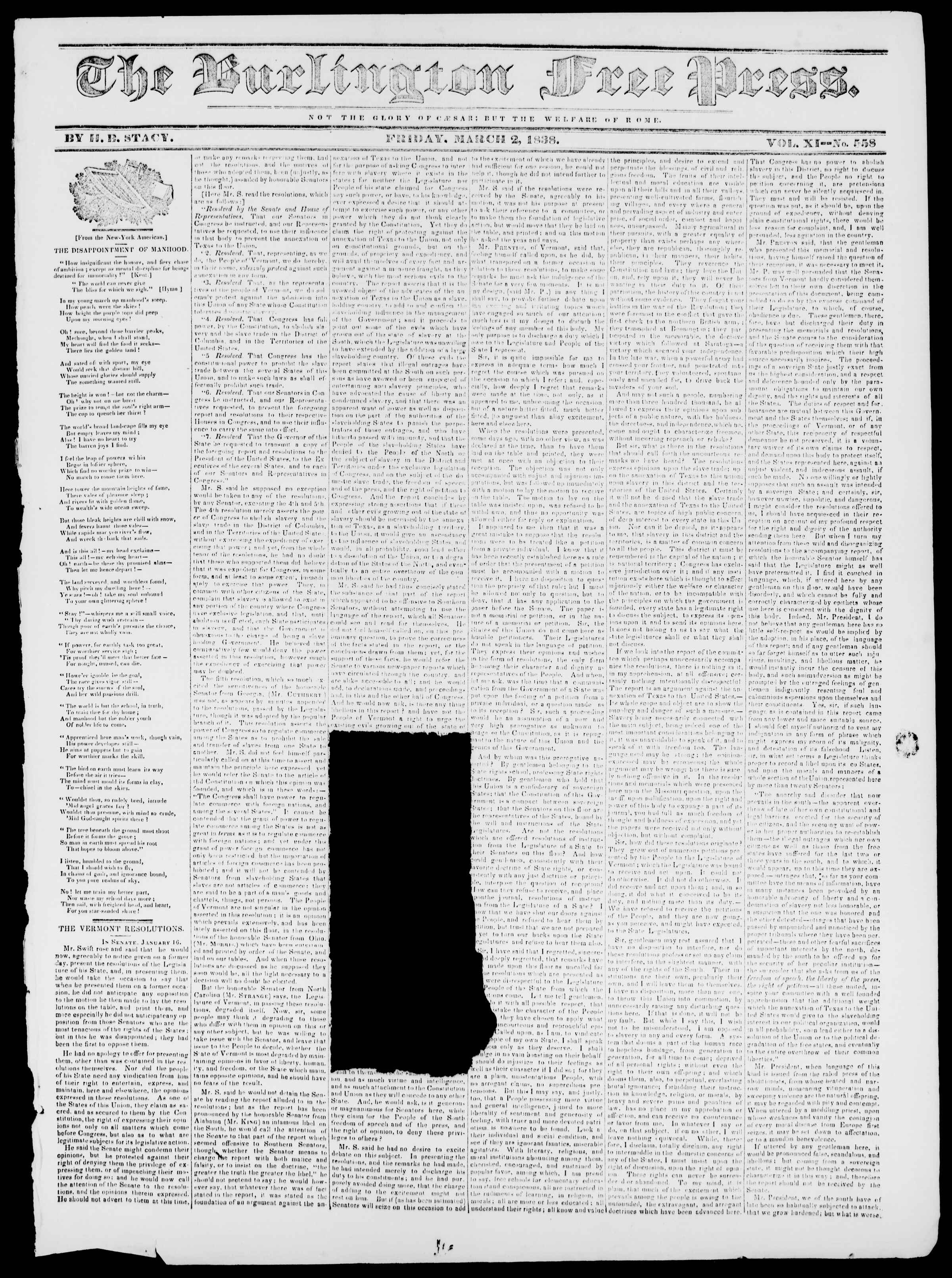 Newspaper of Burlington Free Press dated March 2, 1838 Page 1