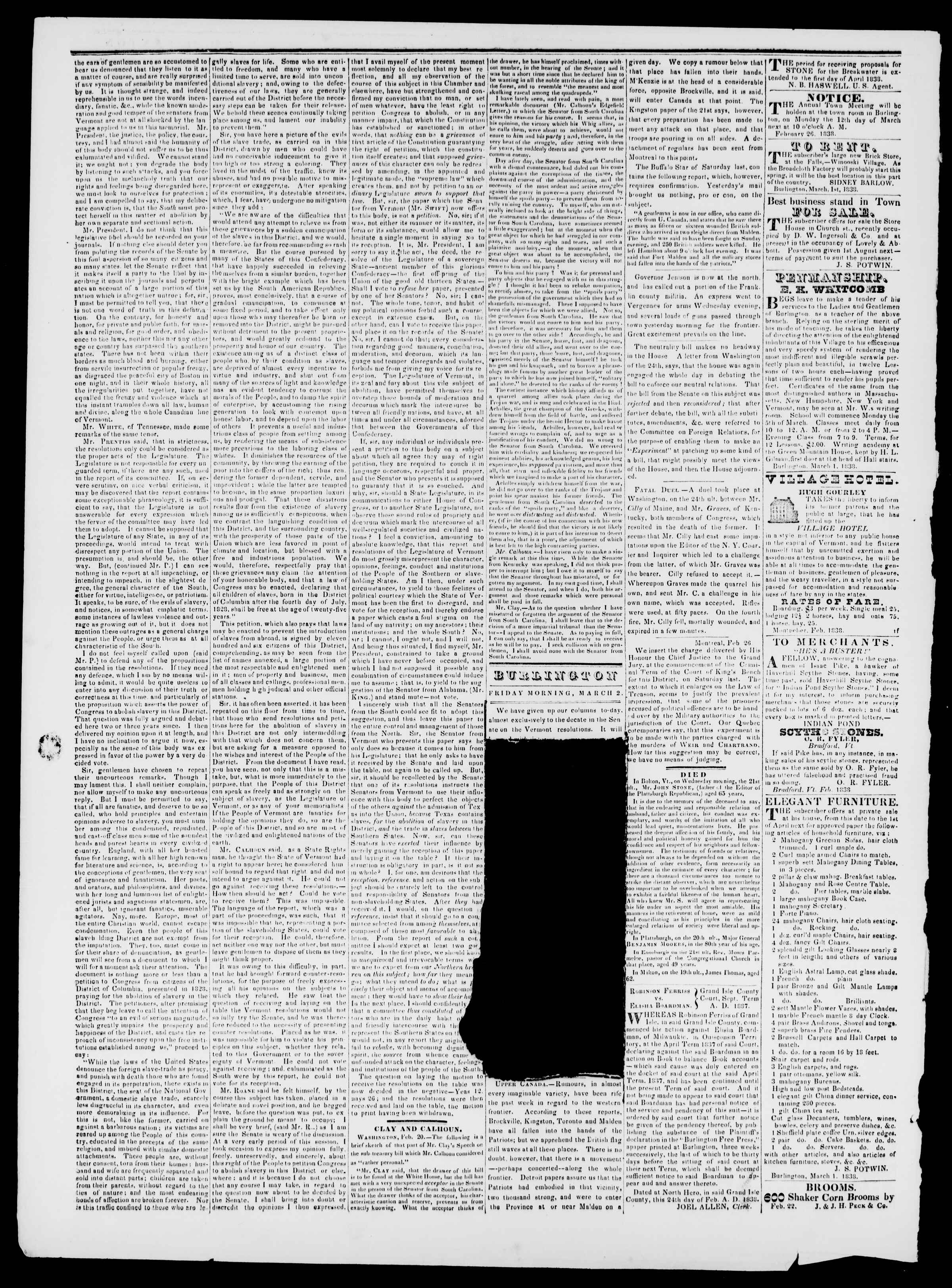 Newspaper of Burlington Free Press dated March 2, 1838 Page 2