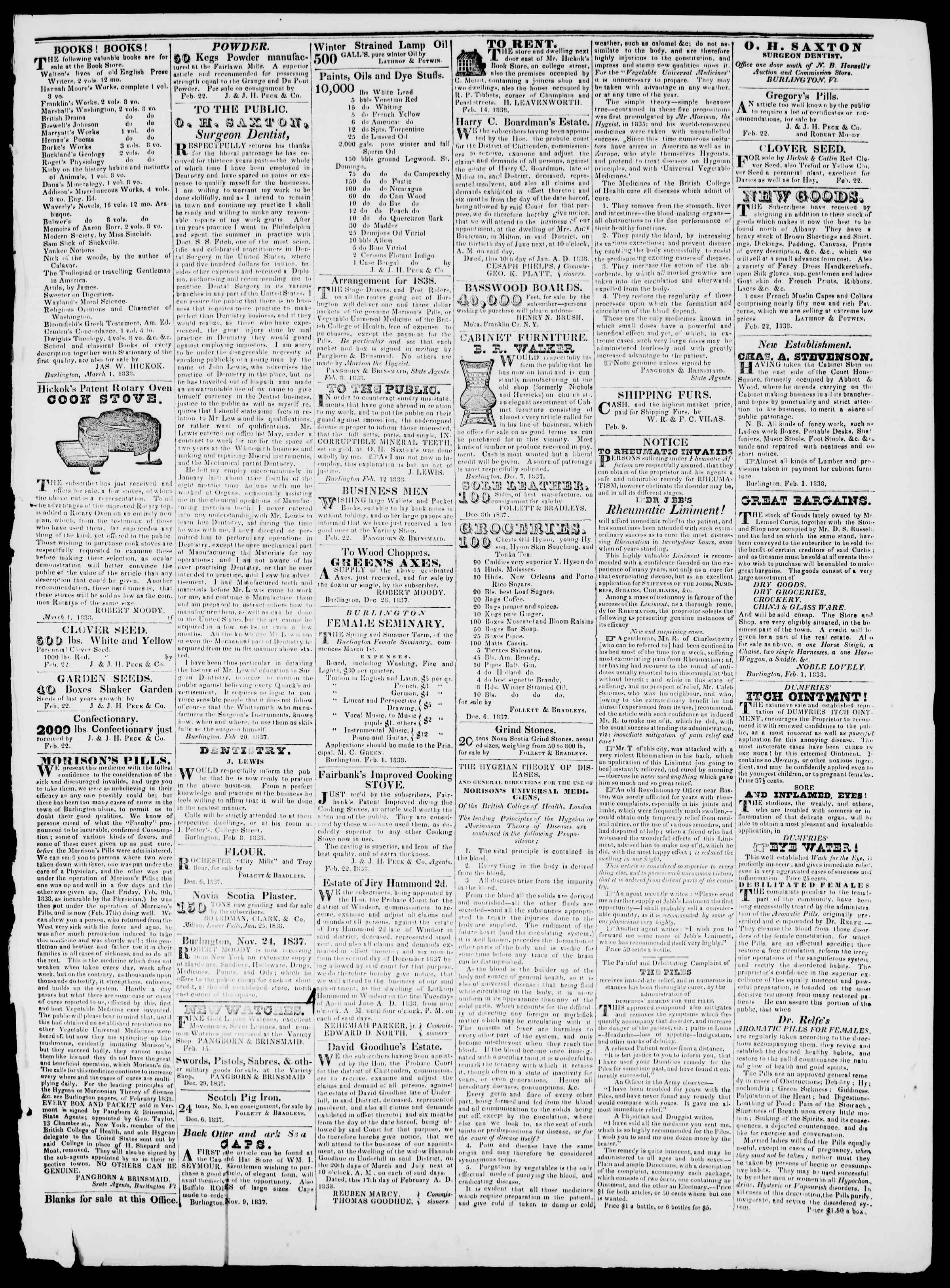 Newspaper of Burlington Free Press dated March 2, 1838 Page 3