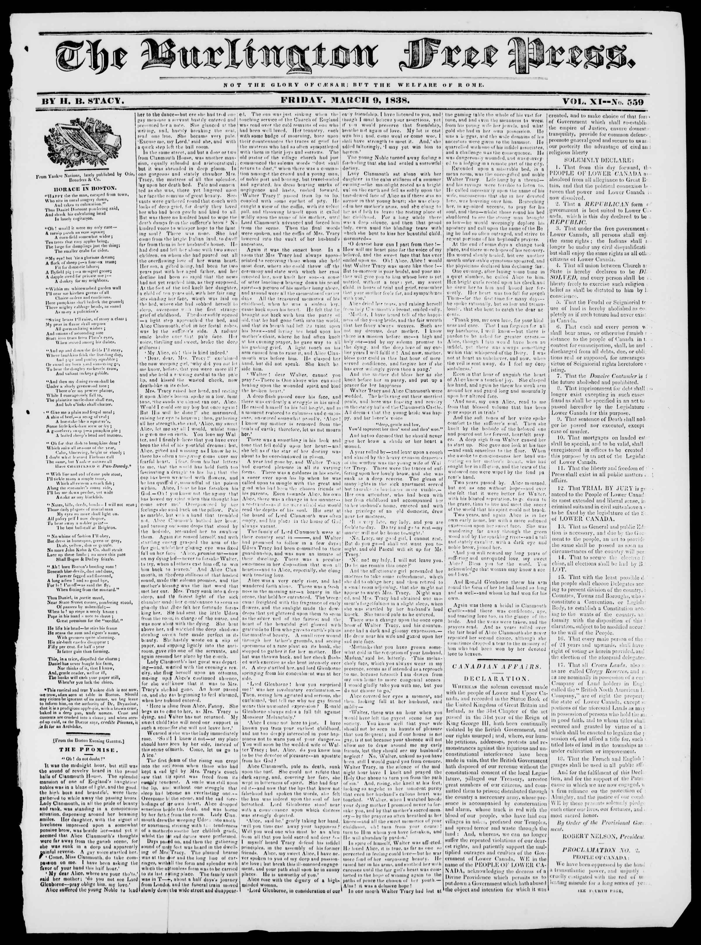 Newspaper of Burlington Free Press dated March 9, 1838 Page 1