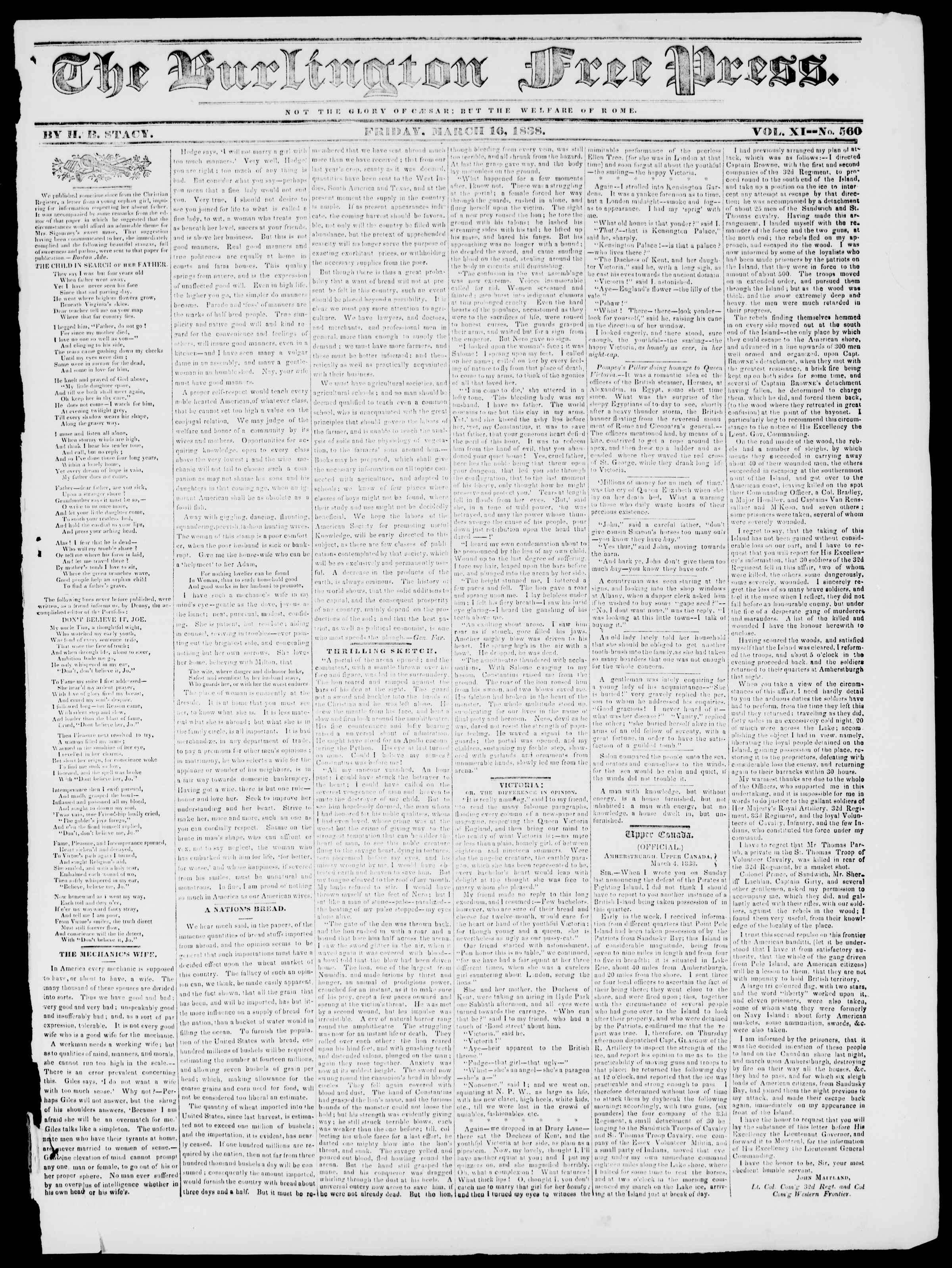 Newspaper of Burlington Free Press dated March 16, 1838 Page 1
