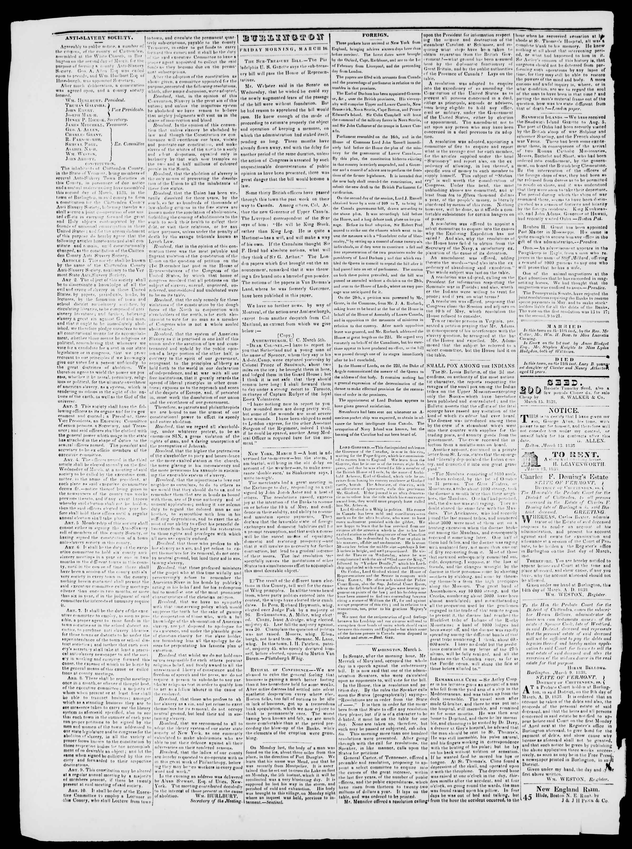 Newspaper of Burlington Free Press dated March 16, 1838 Page 2