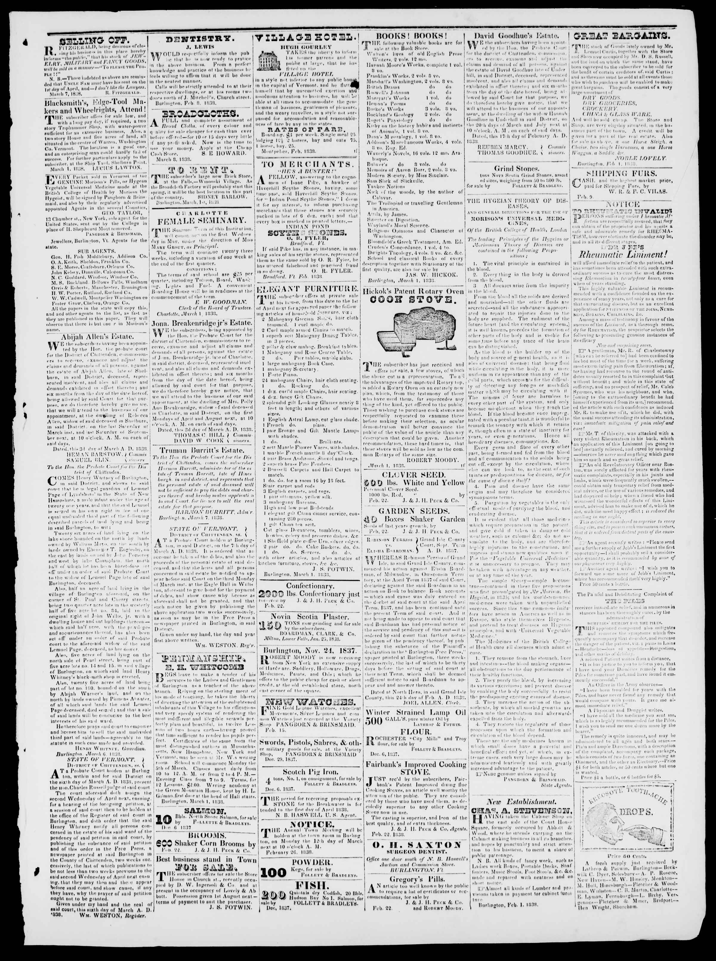 Newspaper of Burlington Free Press dated March 16, 1838 Page 3