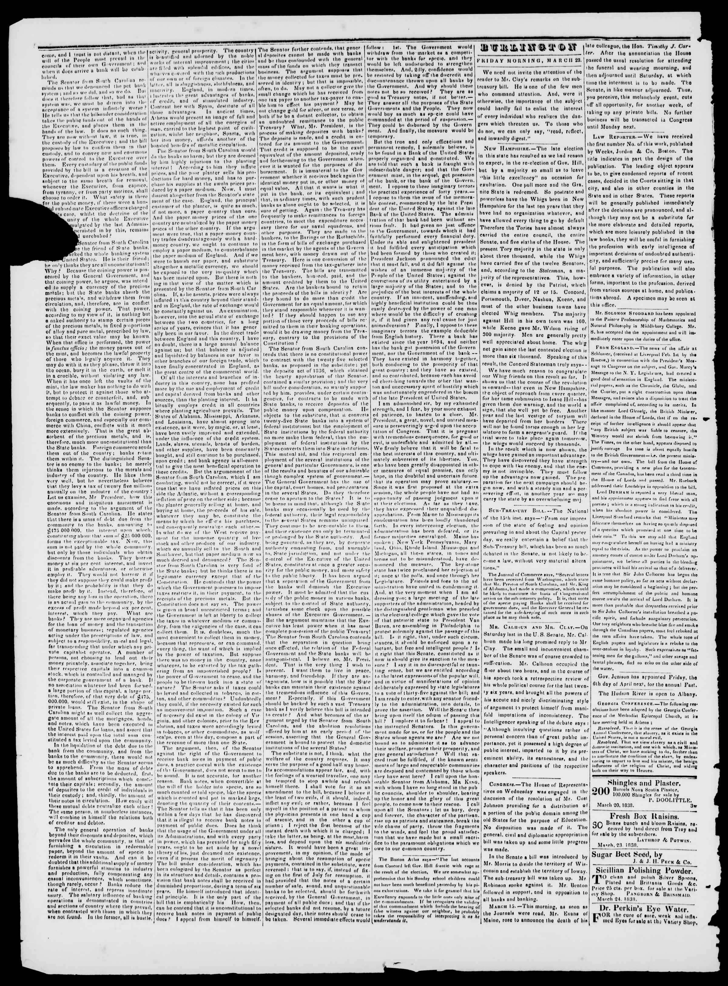 Newspaper of Burlington Free Press dated March 23, 1838 Page 2
