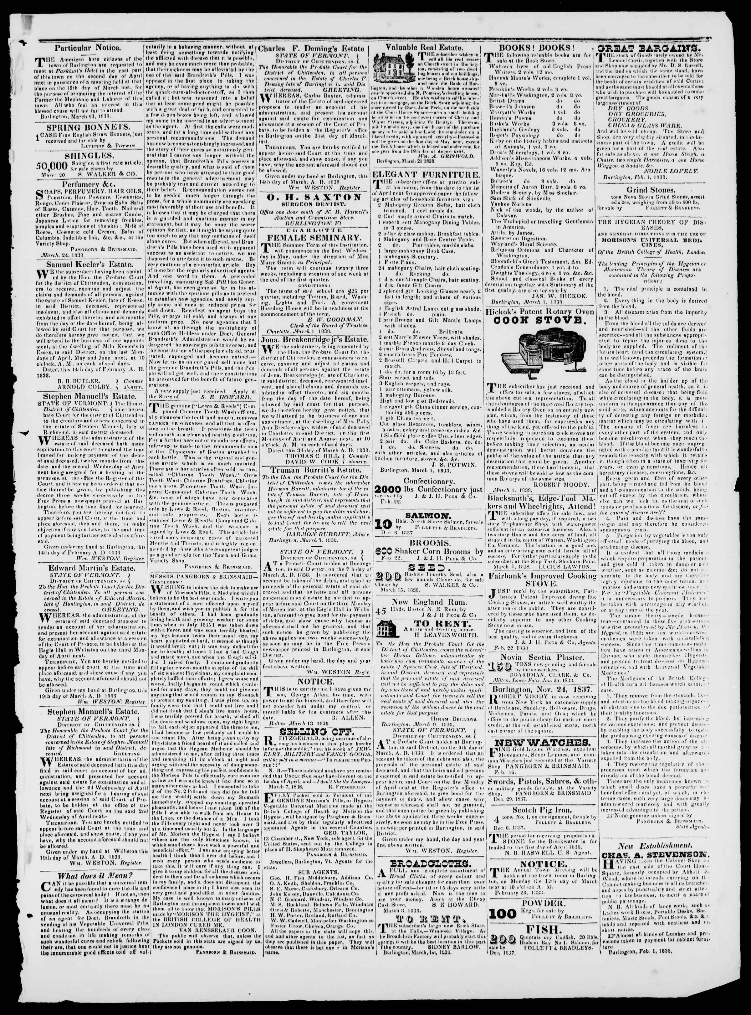 Newspaper of Burlington Free Press dated March 23, 1838 Page 3