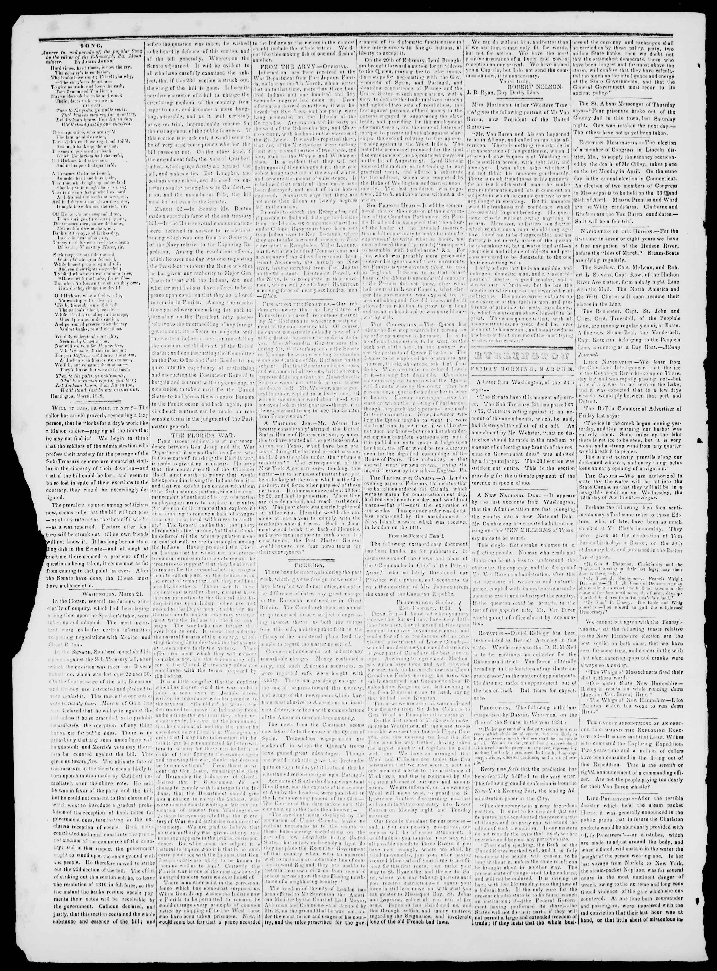 Newspaper of Burlington Free Press dated 30 Mart 1838 Page 2