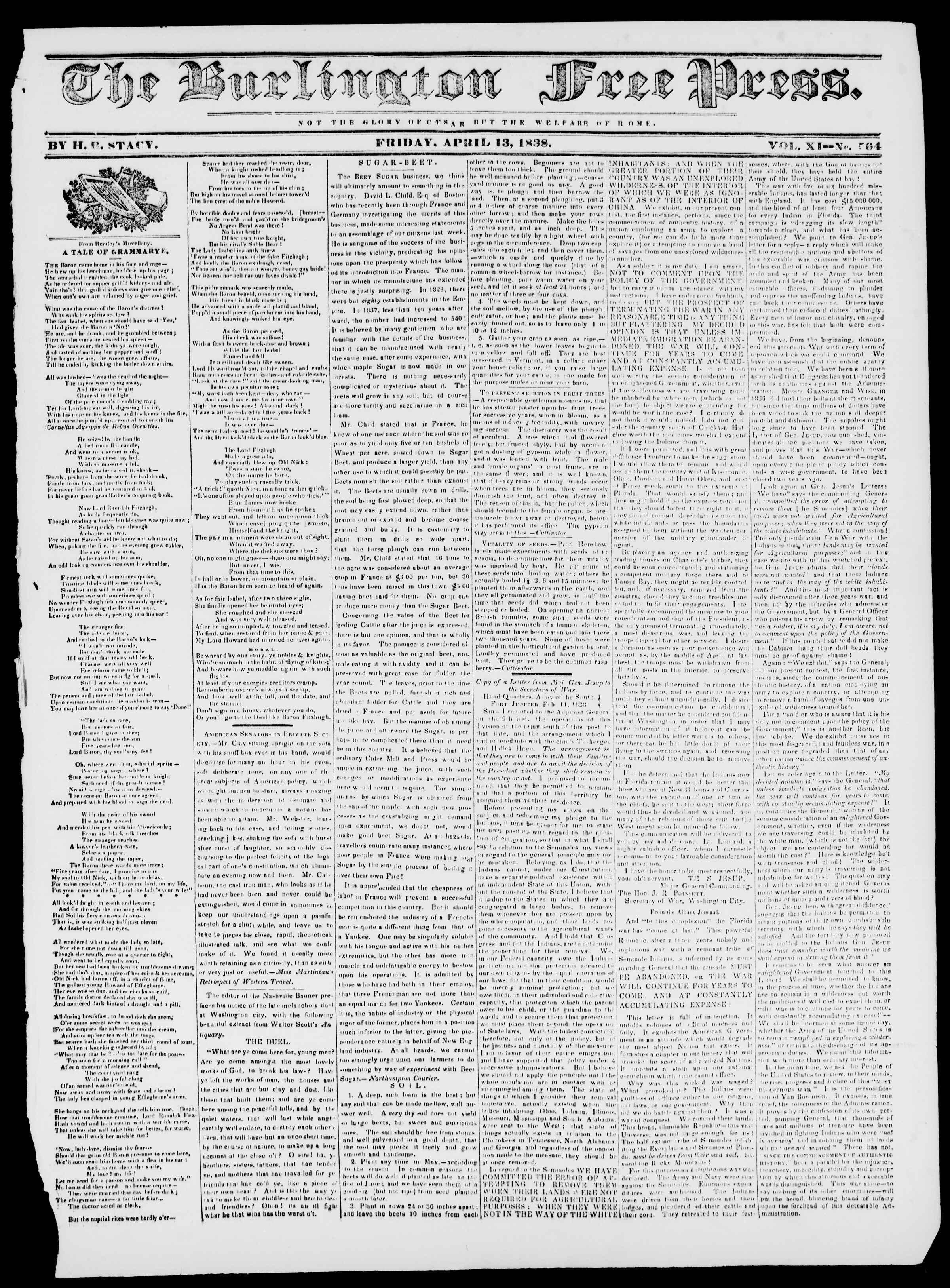 Newspaper of Burlington Free Press dated April 13, 1838 Page 1