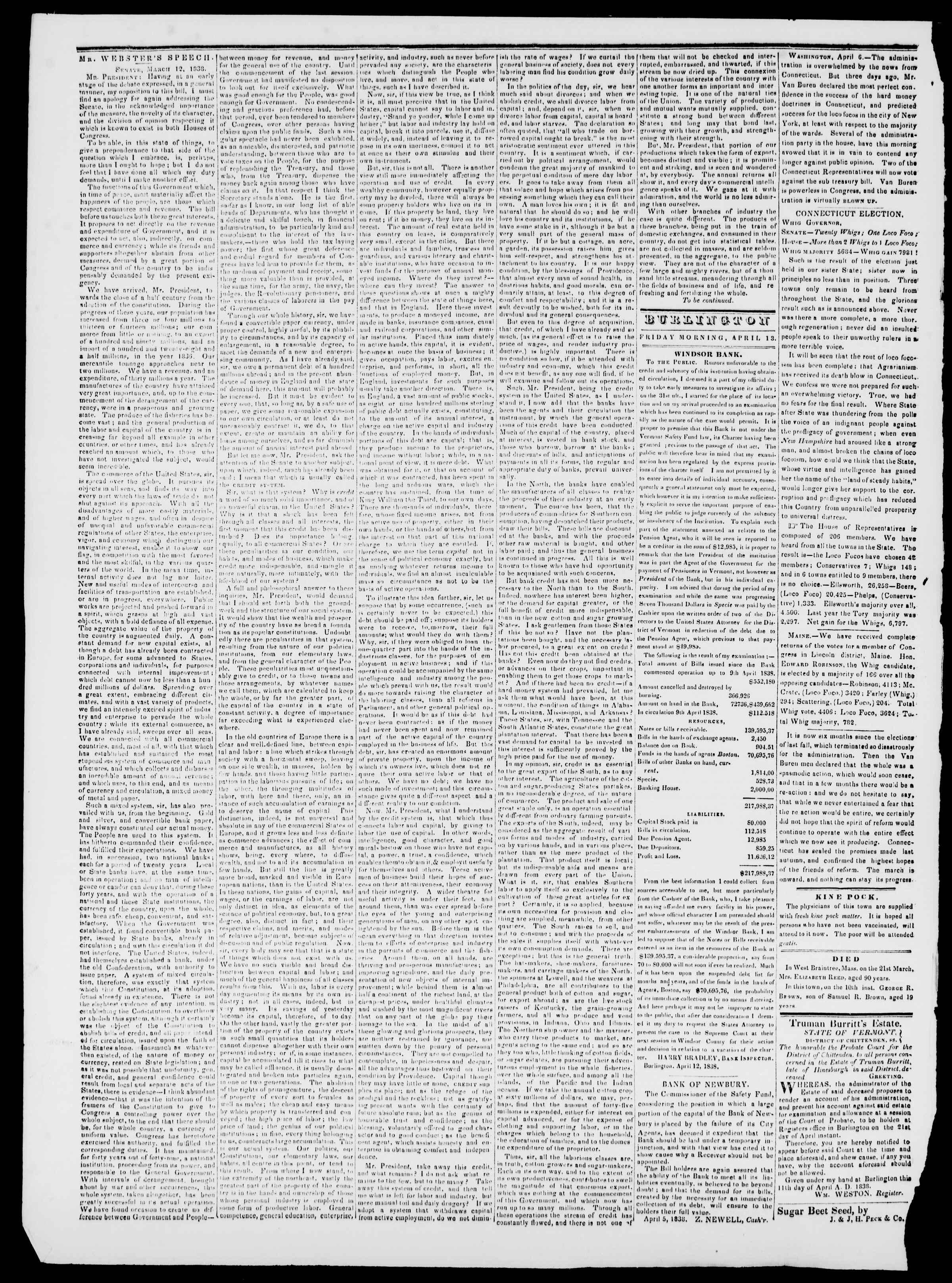 Newspaper of Burlington Free Press dated April 13, 1838 Page 2