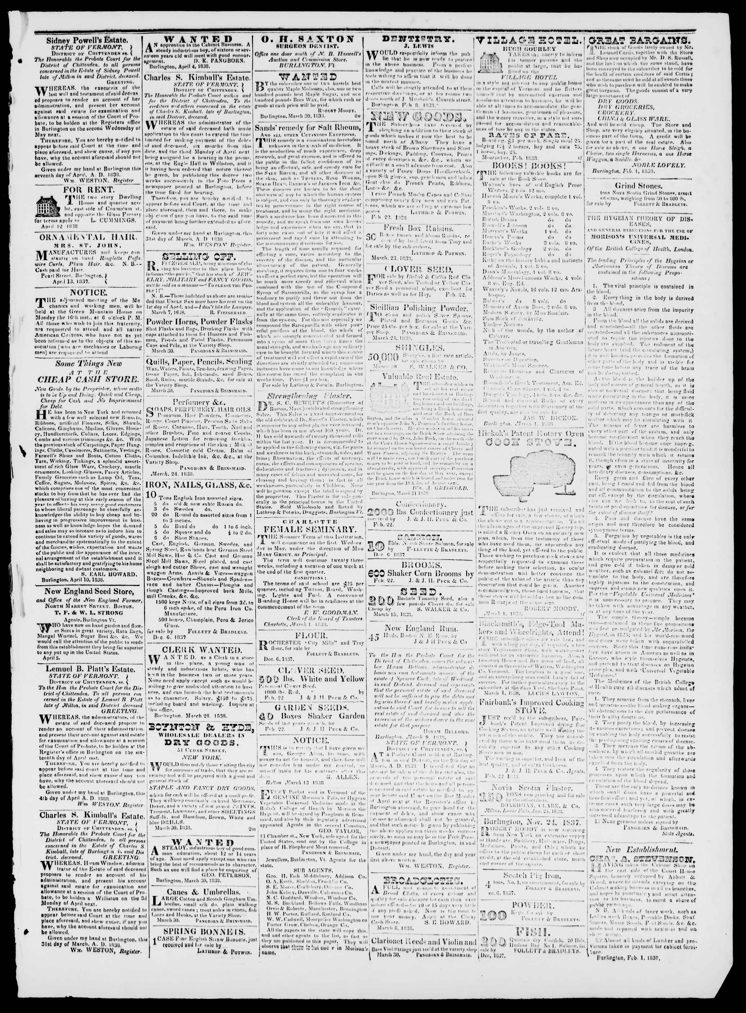 Newspaper of Burlington Free Press dated April 13, 1838 Page 3