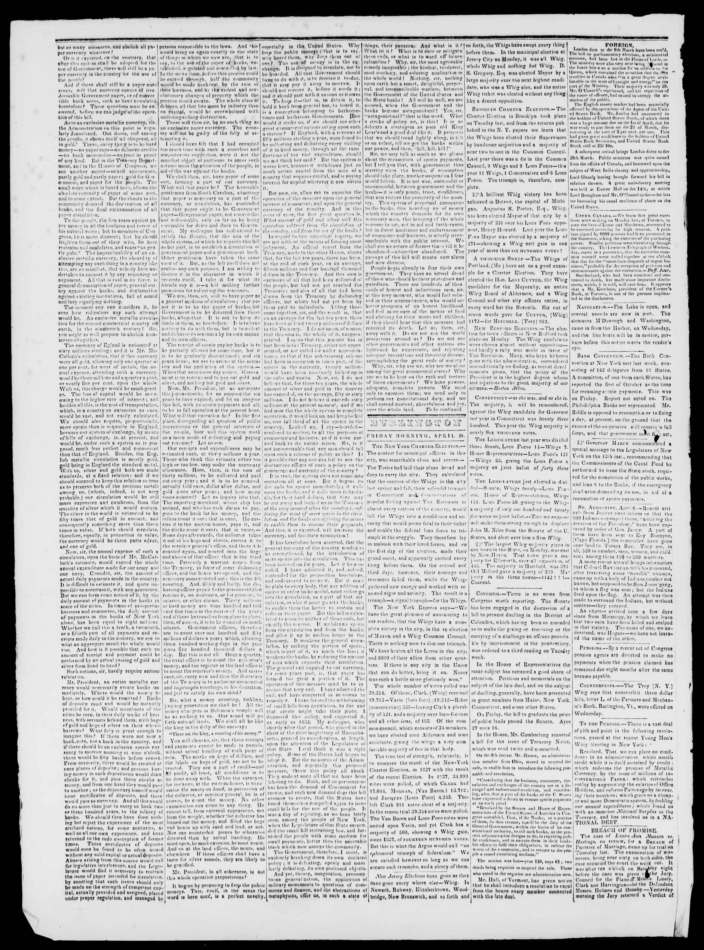 Newspaper of Burlington Free Press dated April 20, 1838 Page 2