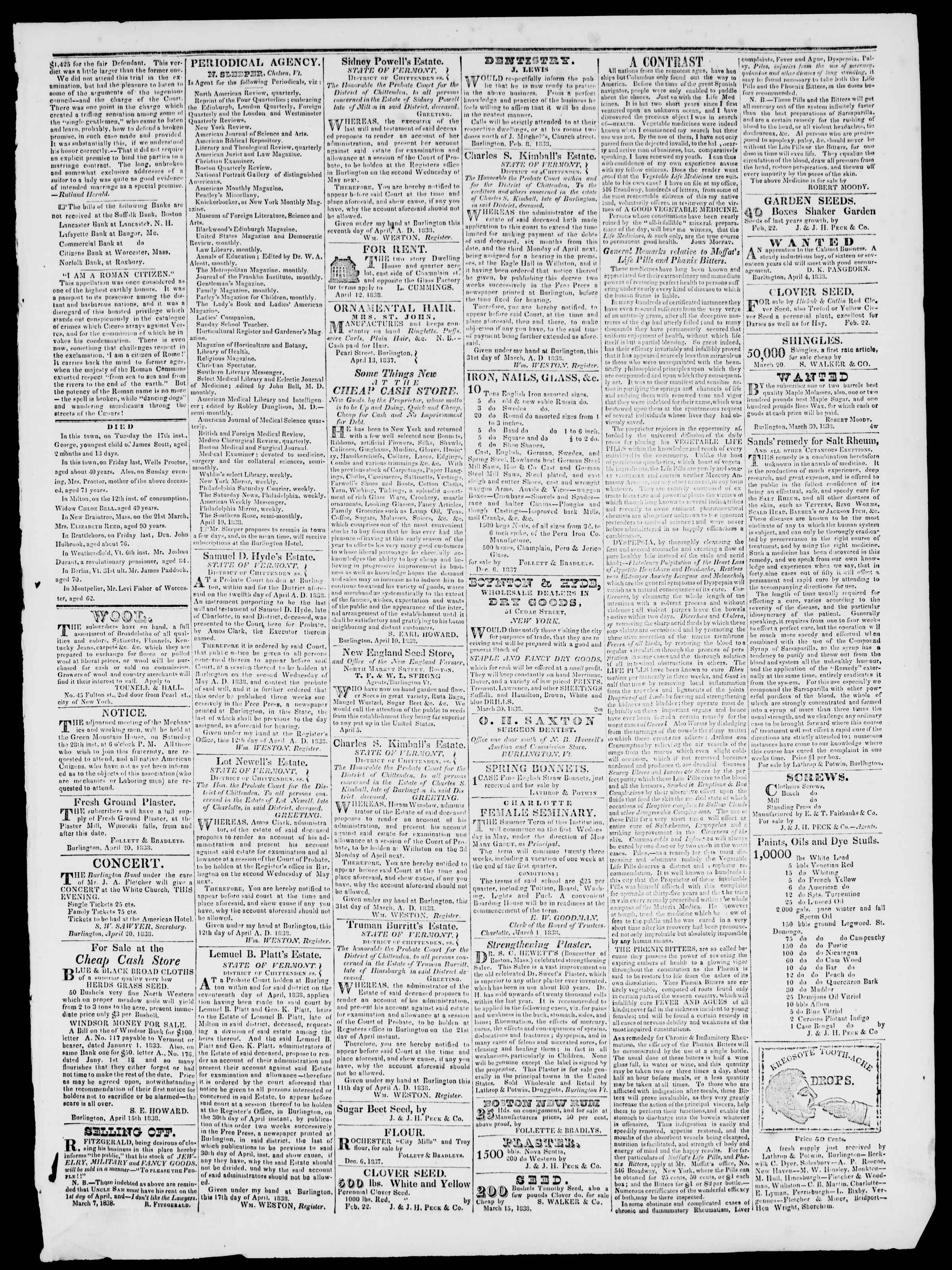 Newspaper of Burlington Free Press dated April 20, 1838 Page 3