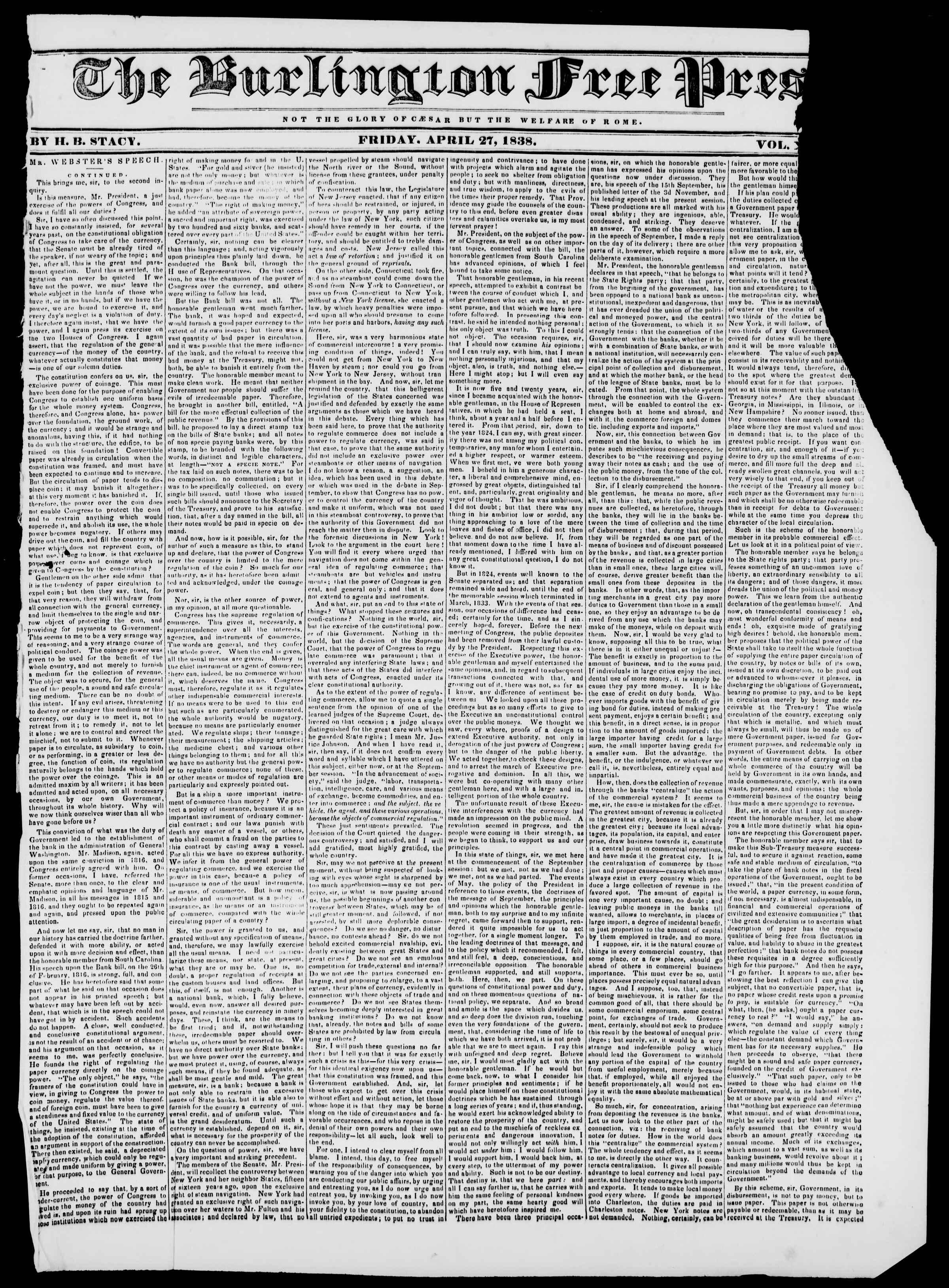 Newspaper of Burlington Free Press dated April 27, 1838 Page 1