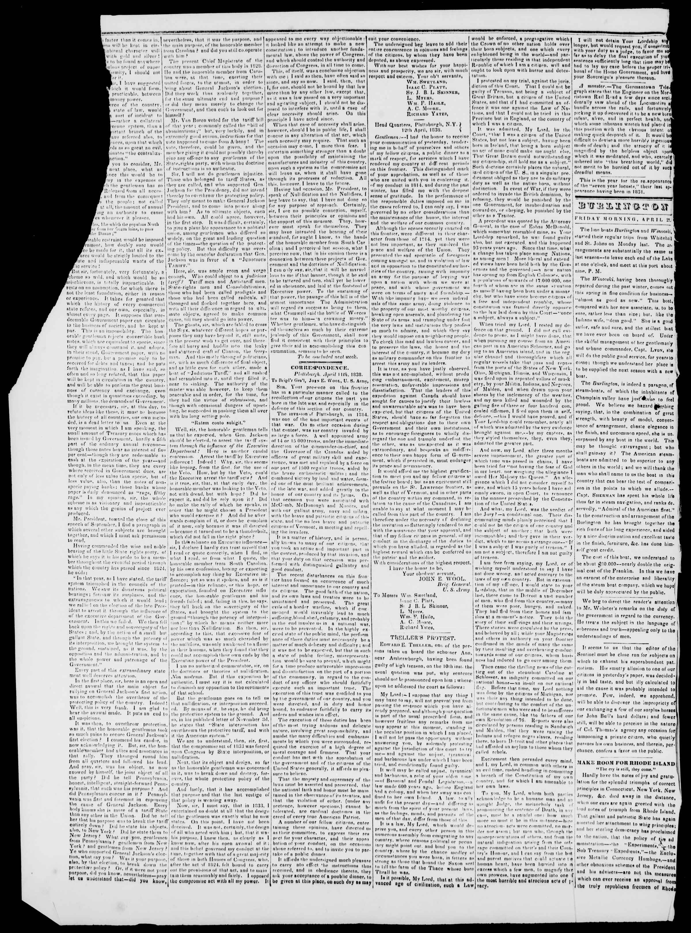 Newspaper of Burlington Free Press dated April 27, 1838 Page 2