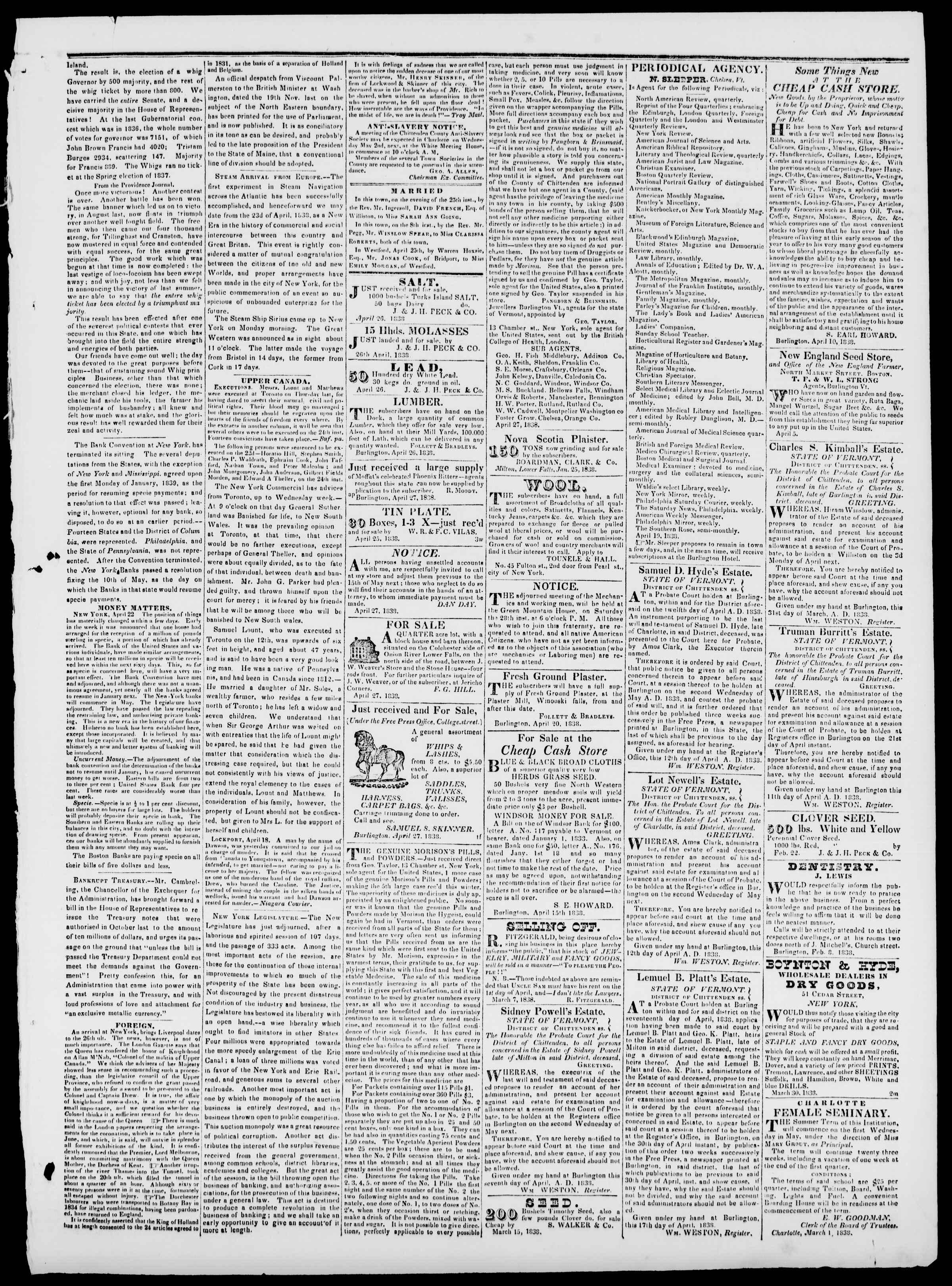 Newspaper of Burlington Free Press dated April 27, 1838 Page 3