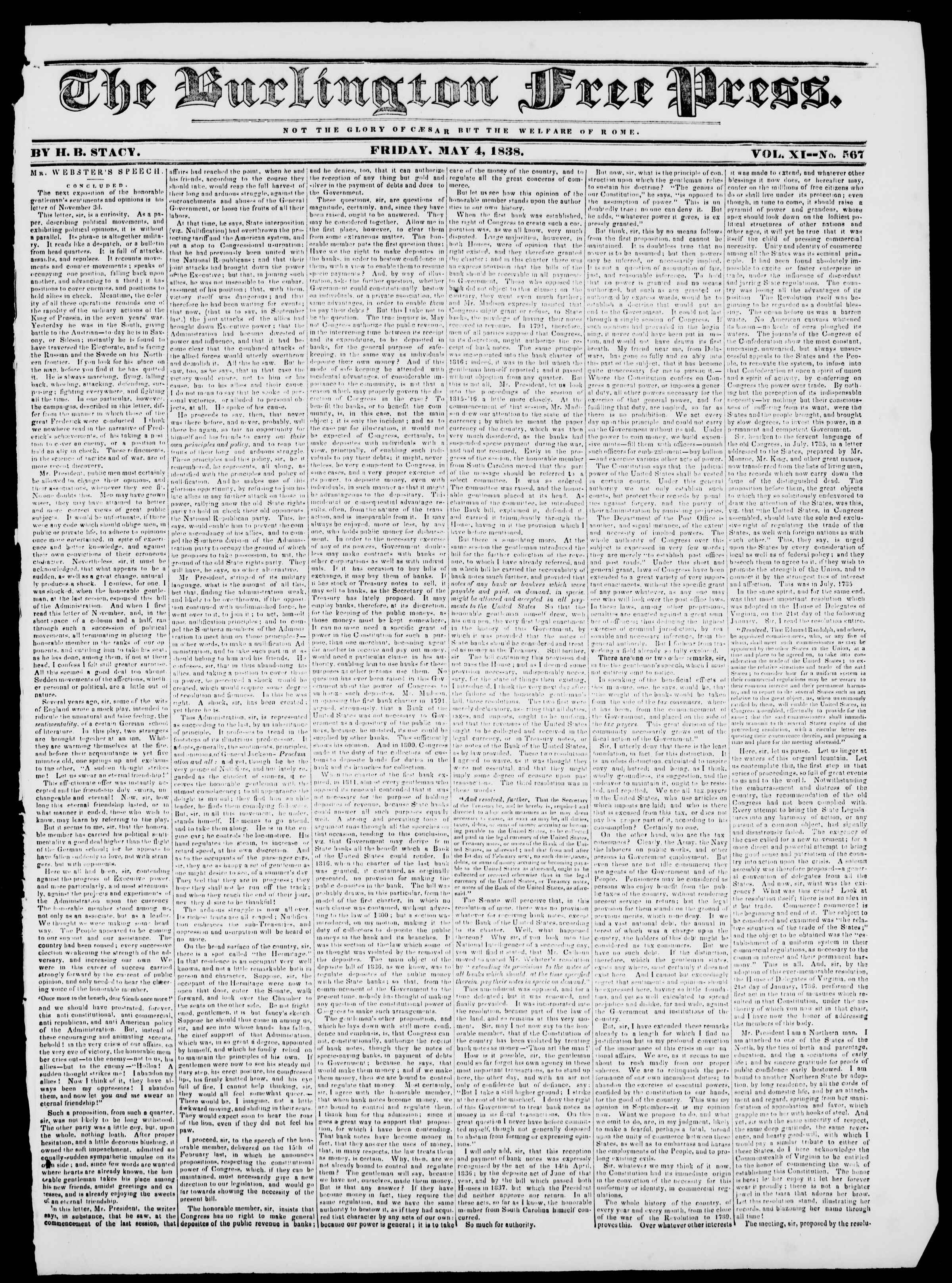 Newspaper of Burlington Free Press dated May 4, 1838 Page 1