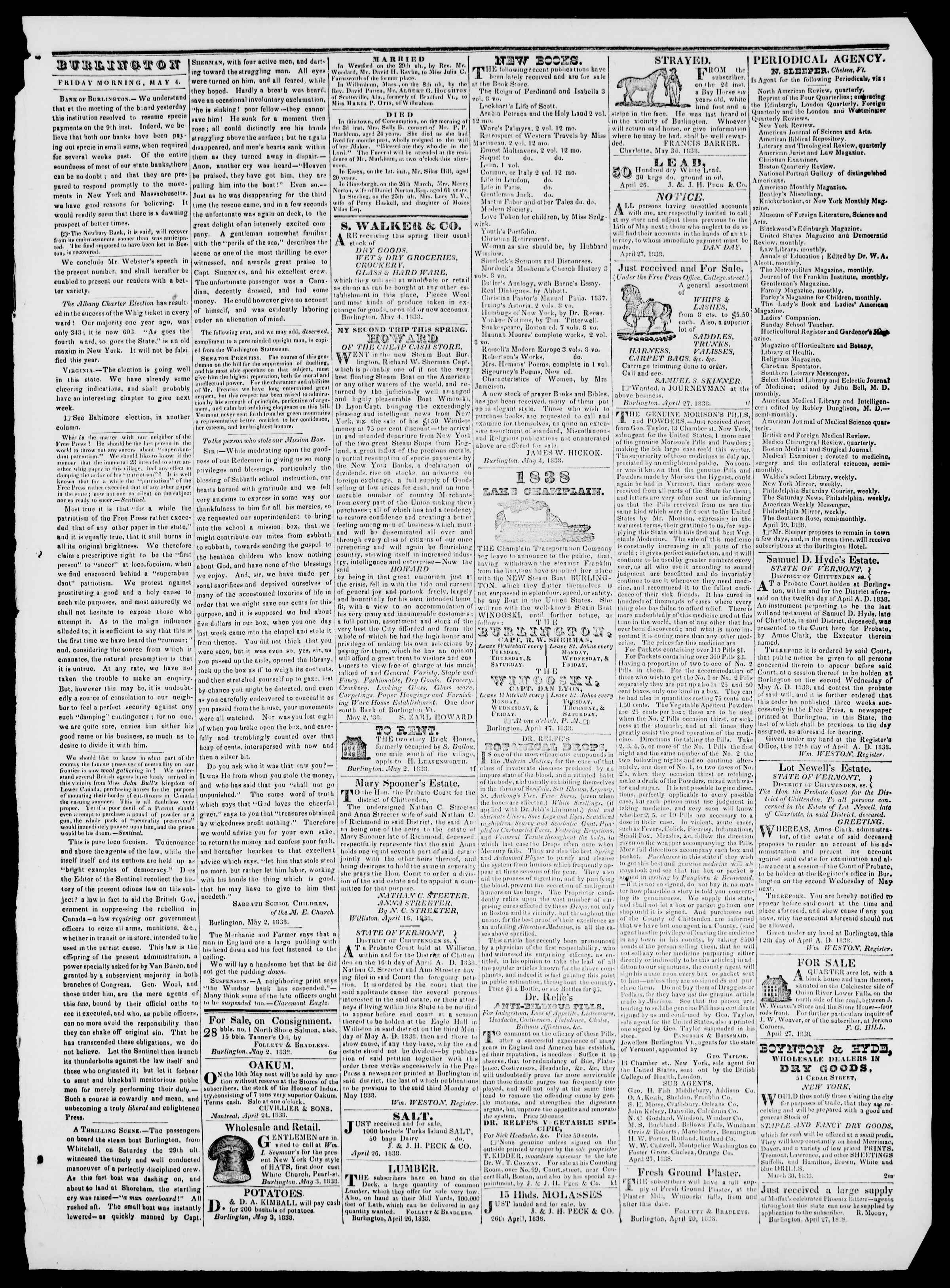 Newspaper of Burlington Free Press dated May 4, 1838 Page 3