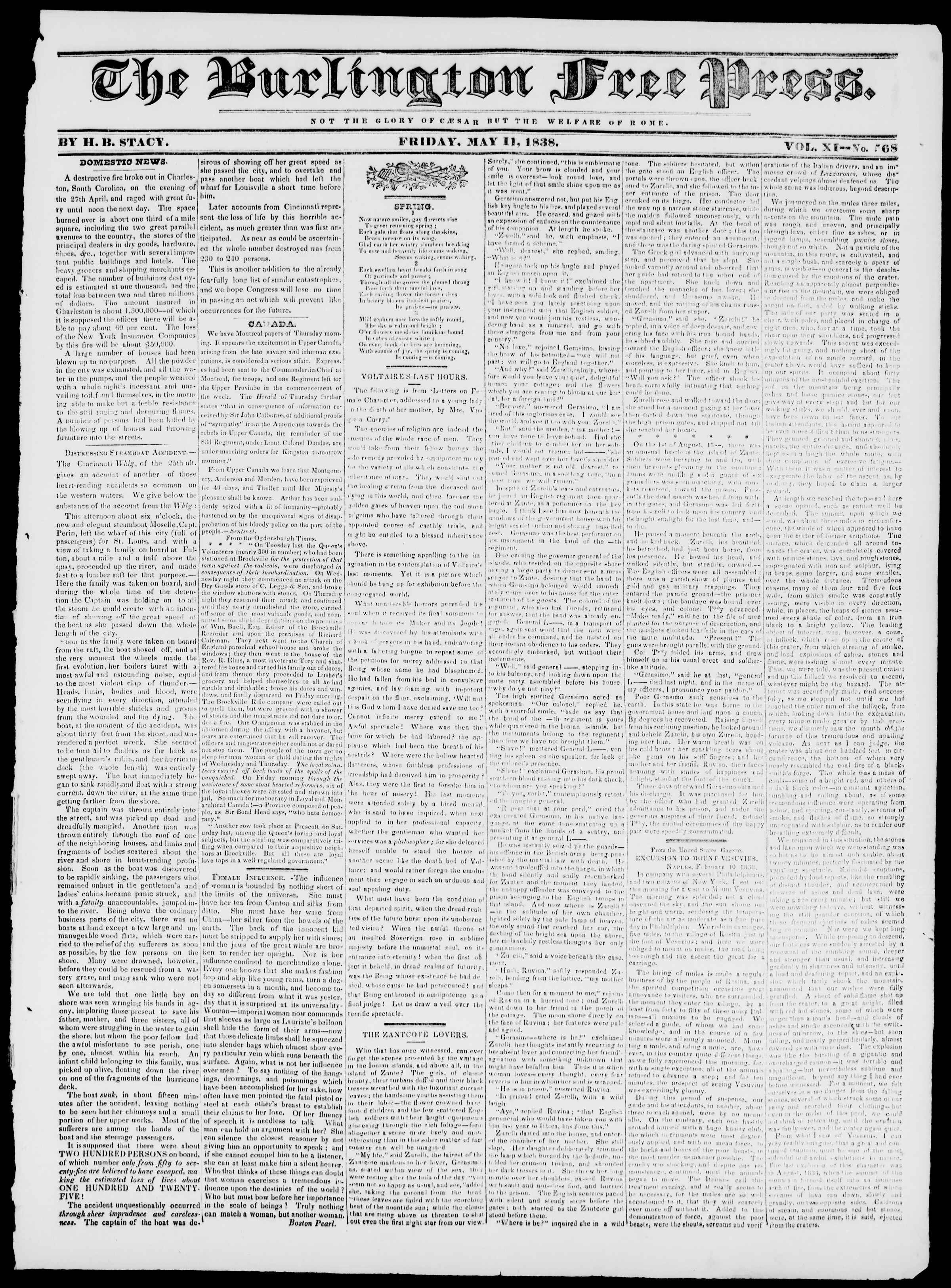 Newspaper of Burlington Free Press dated May 11, 1838 Page 1