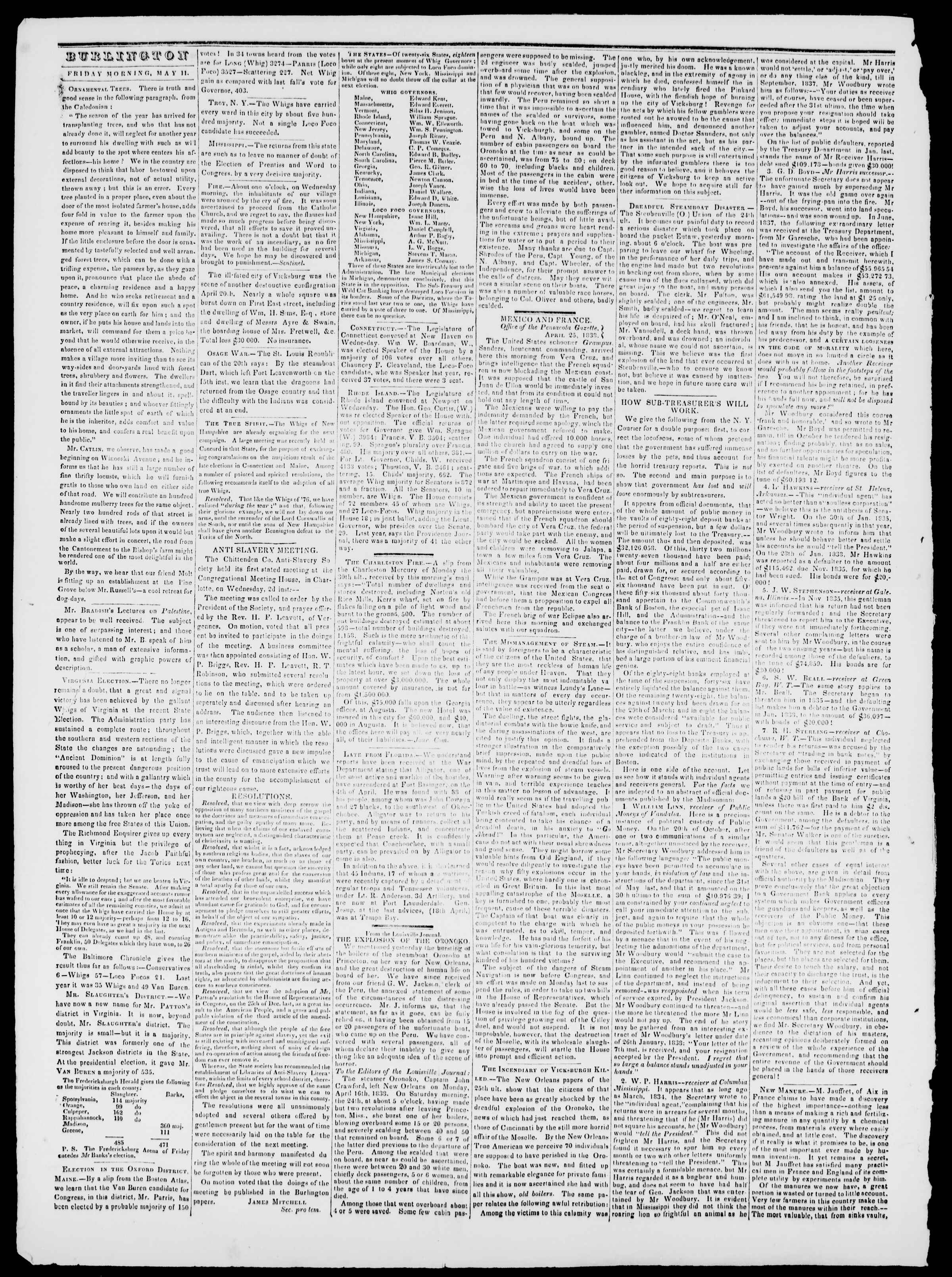 Newspaper of Burlington Free Press dated May 11, 1838 Page 2