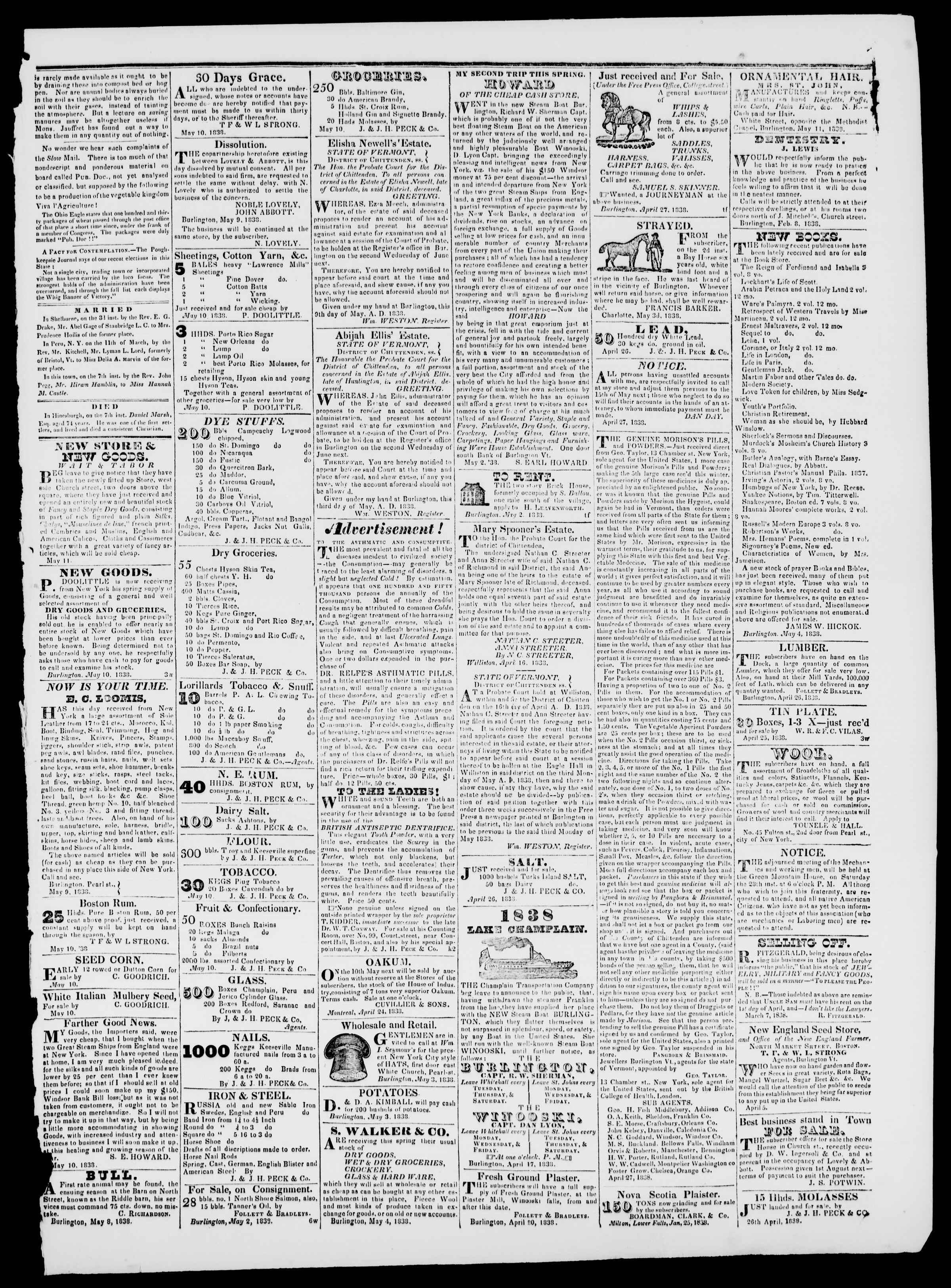 Newspaper of Burlington Free Press dated May 11, 1838 Page 3