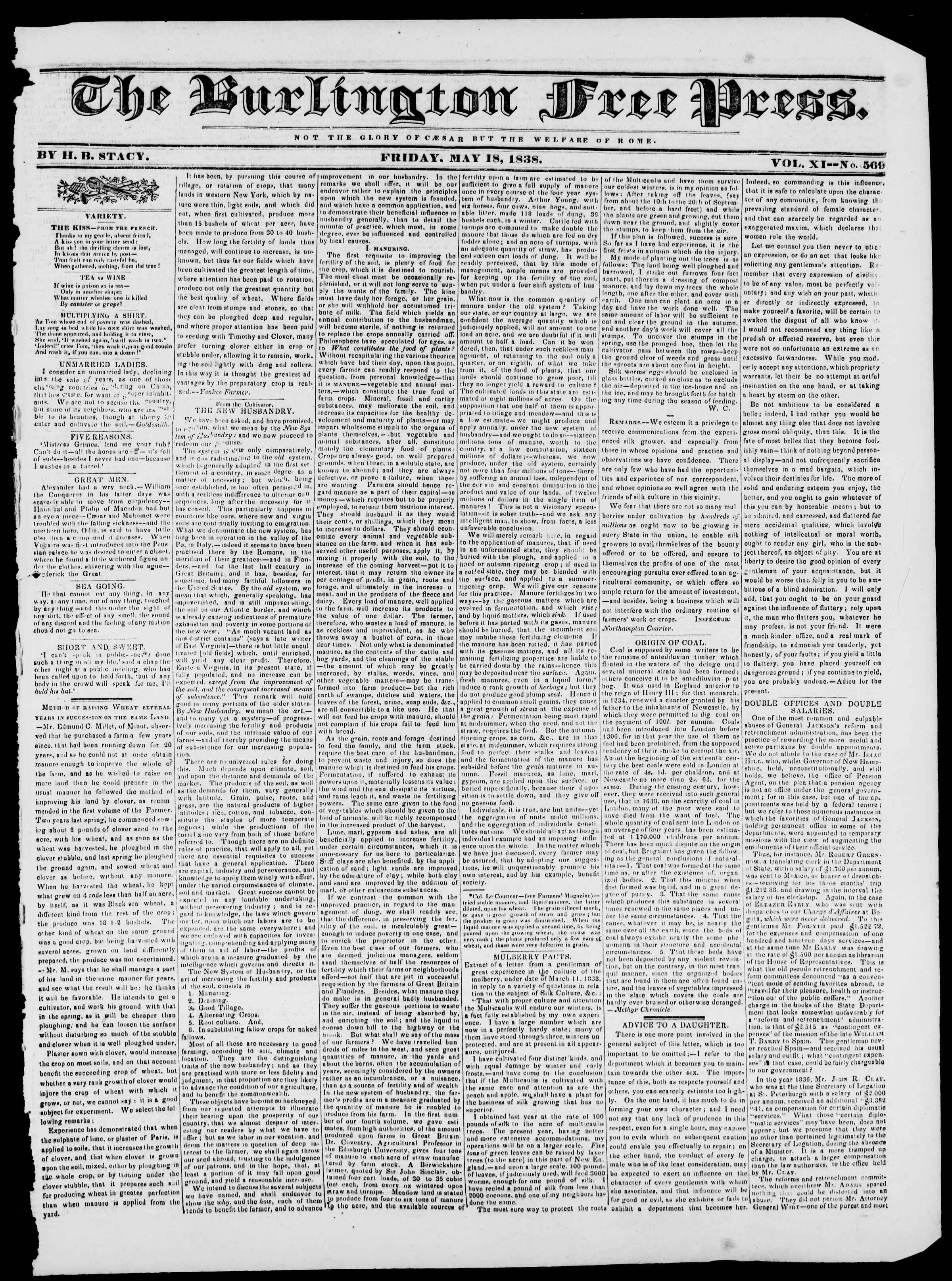 Newspaper of Burlington Free Press dated May 18, 1838 Page 1