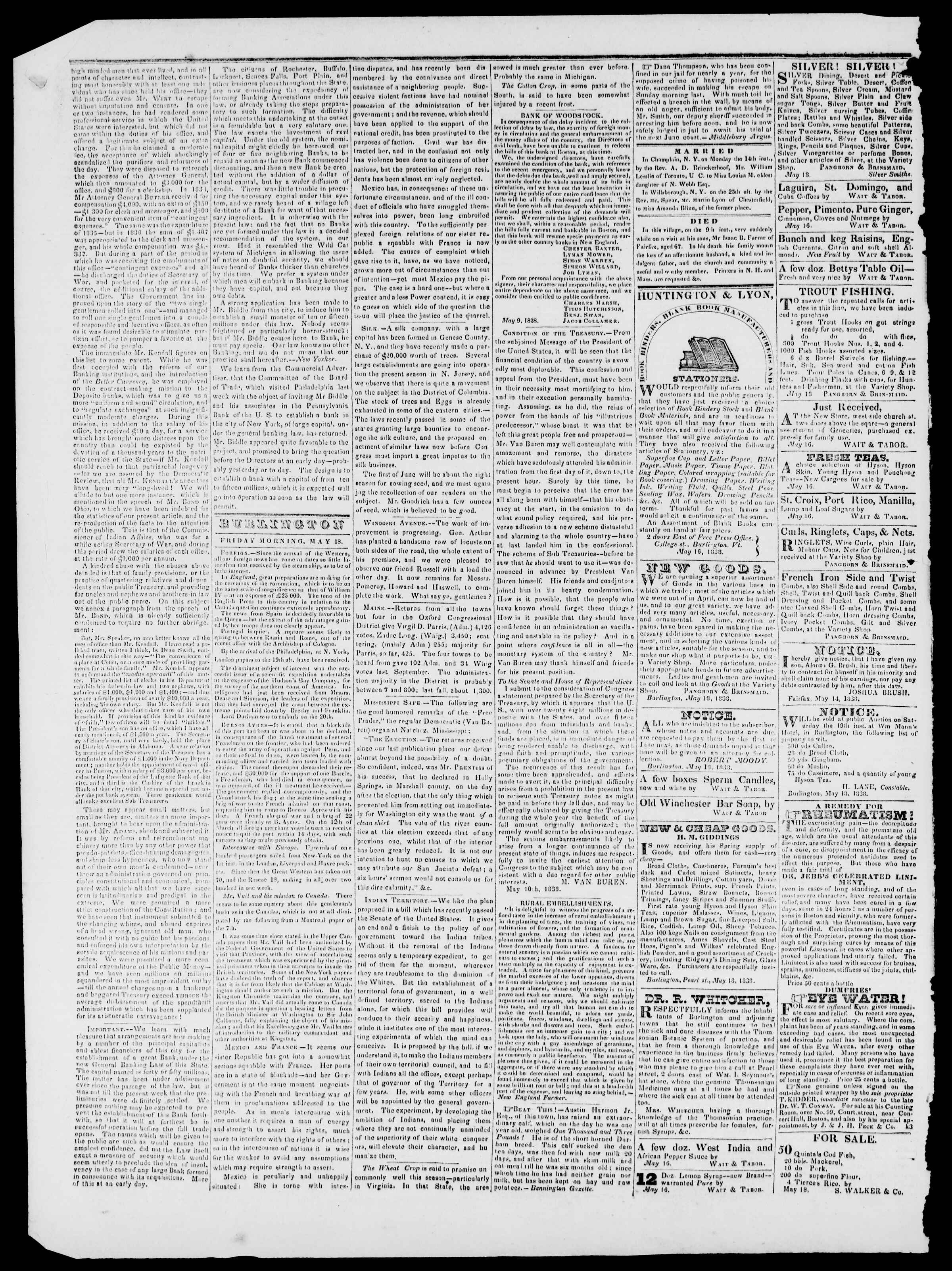 Newspaper of Burlington Free Press dated May 18, 1838 Page 2