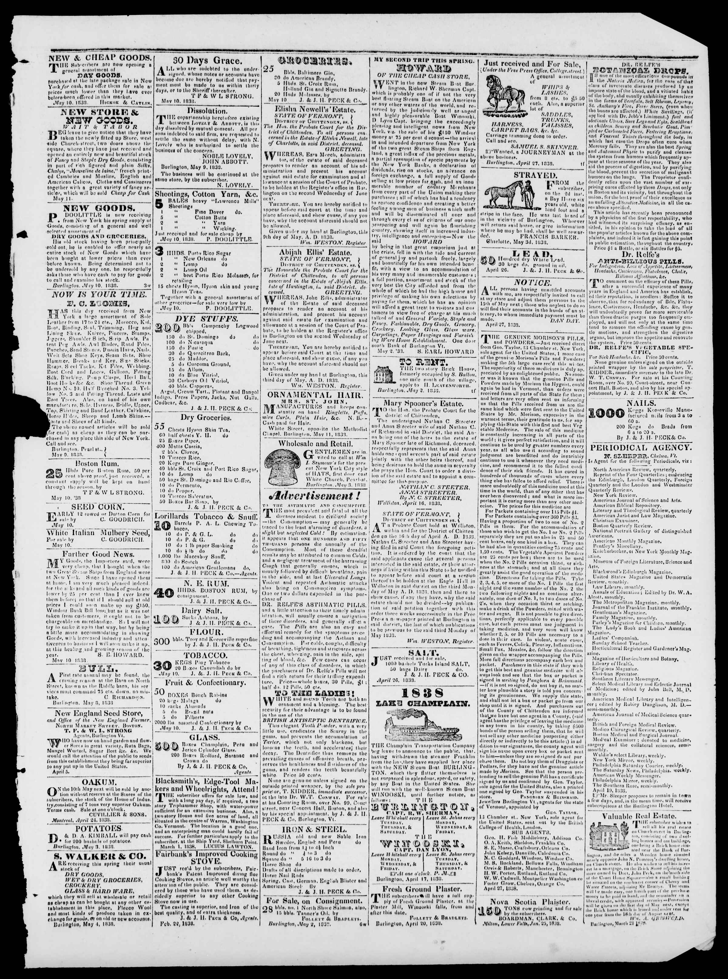 Newspaper of Burlington Free Press dated May 18, 1838 Page 3