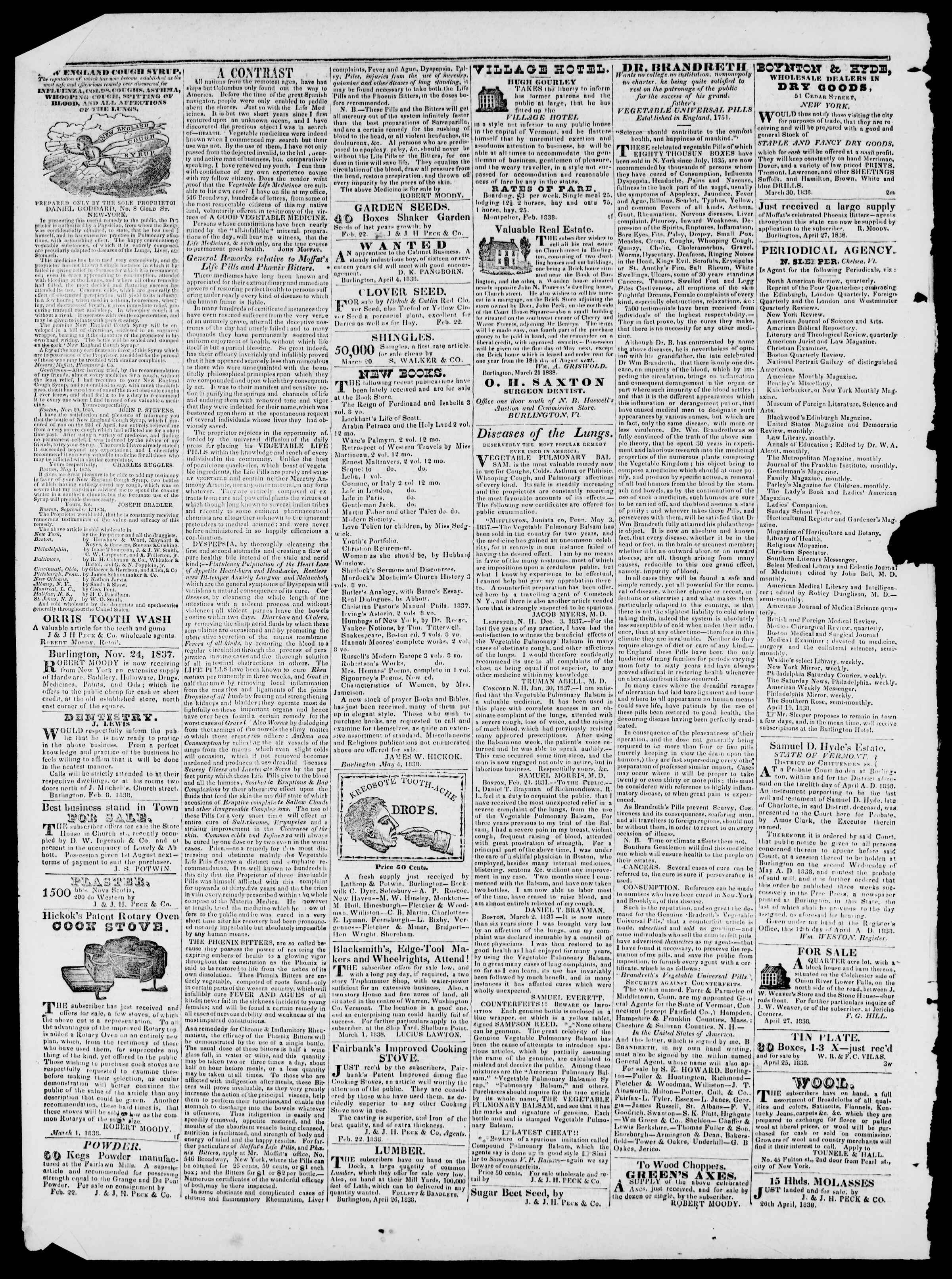 Newspaper of Burlington Free Press dated May 18, 1838 Page 4