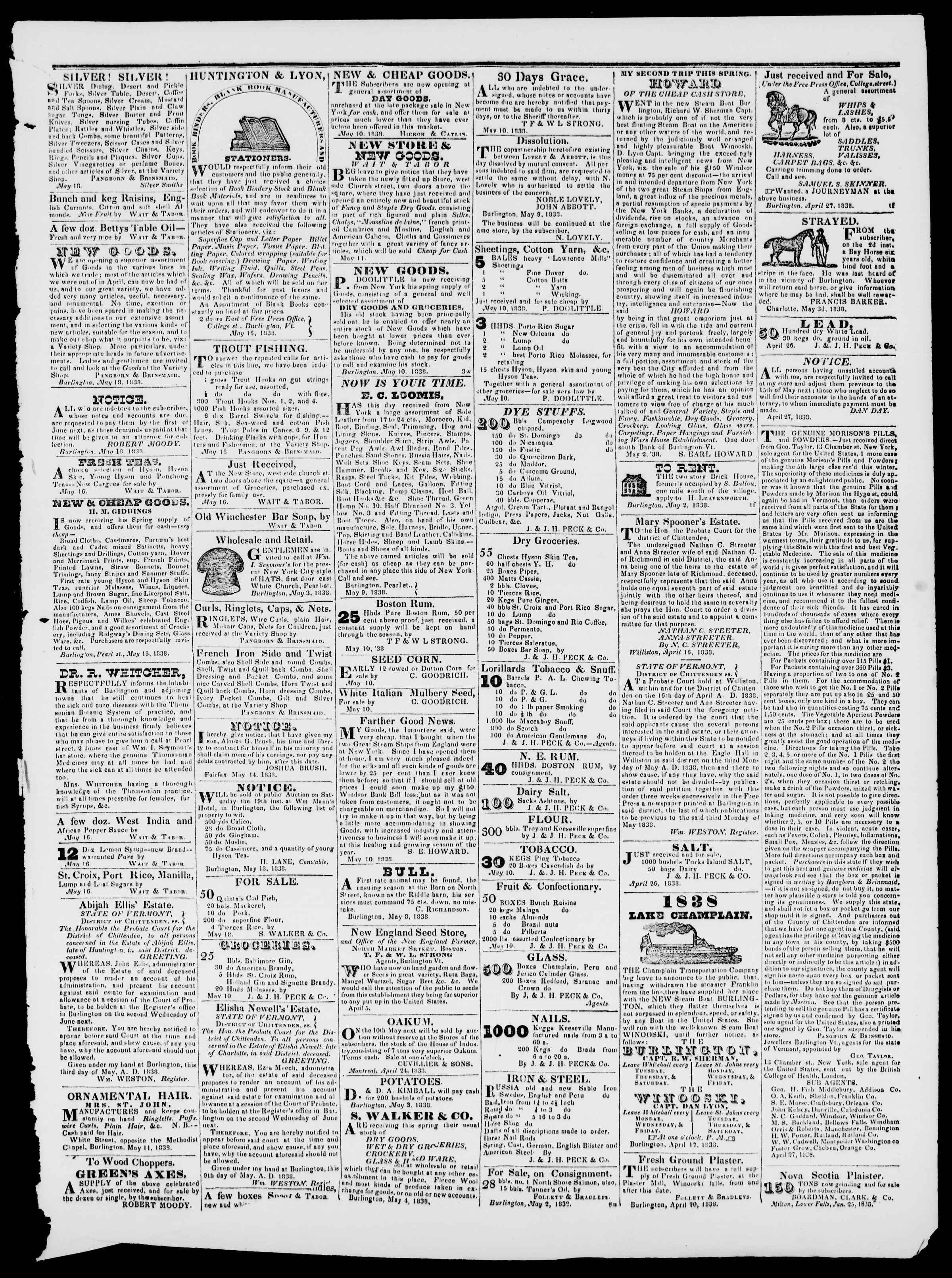 Newspaper of Burlington Free Press dated May 25, 1838 Page 3