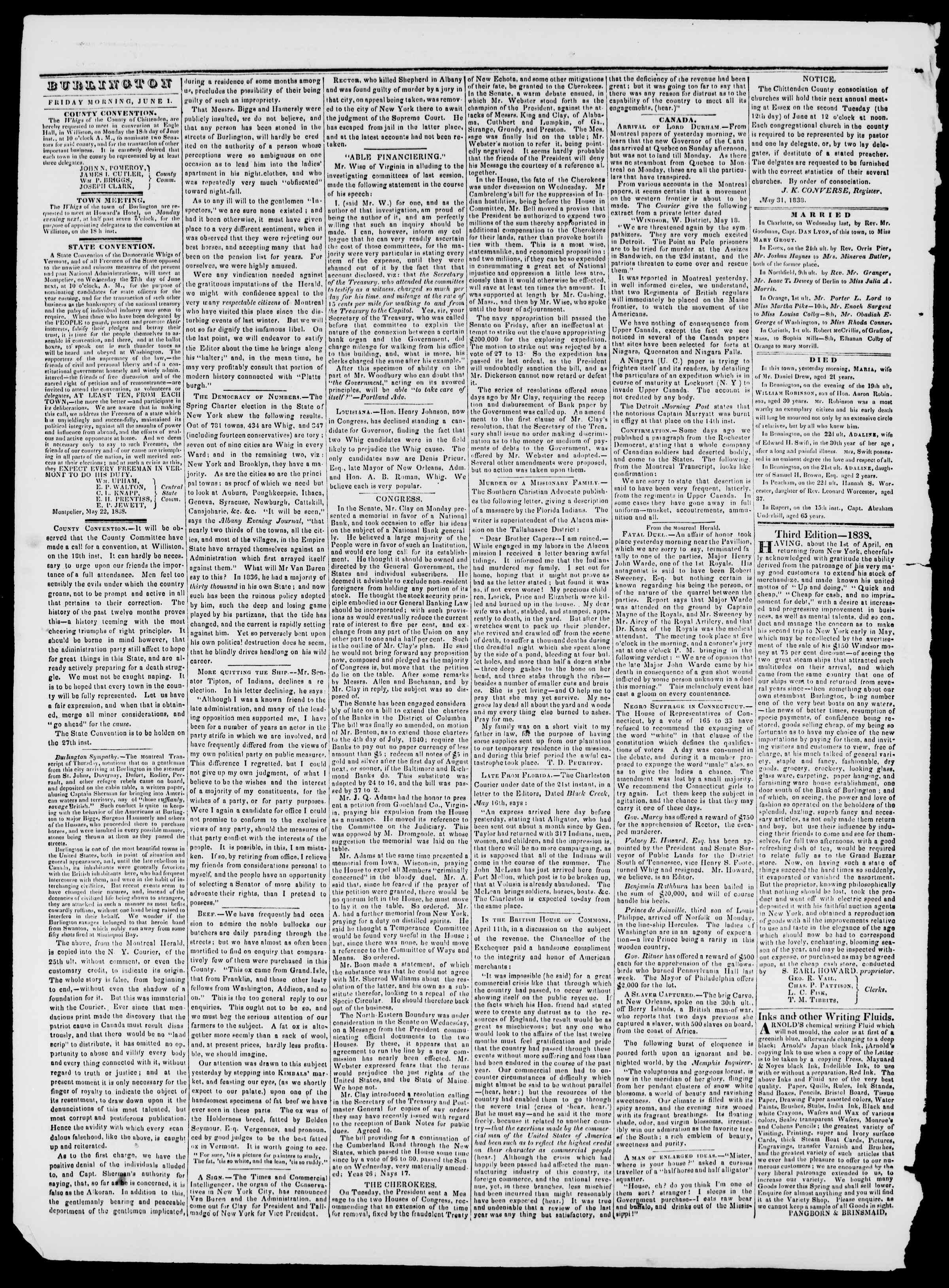 Newspaper of Burlington Free Press dated June 1, 1838 Page 2