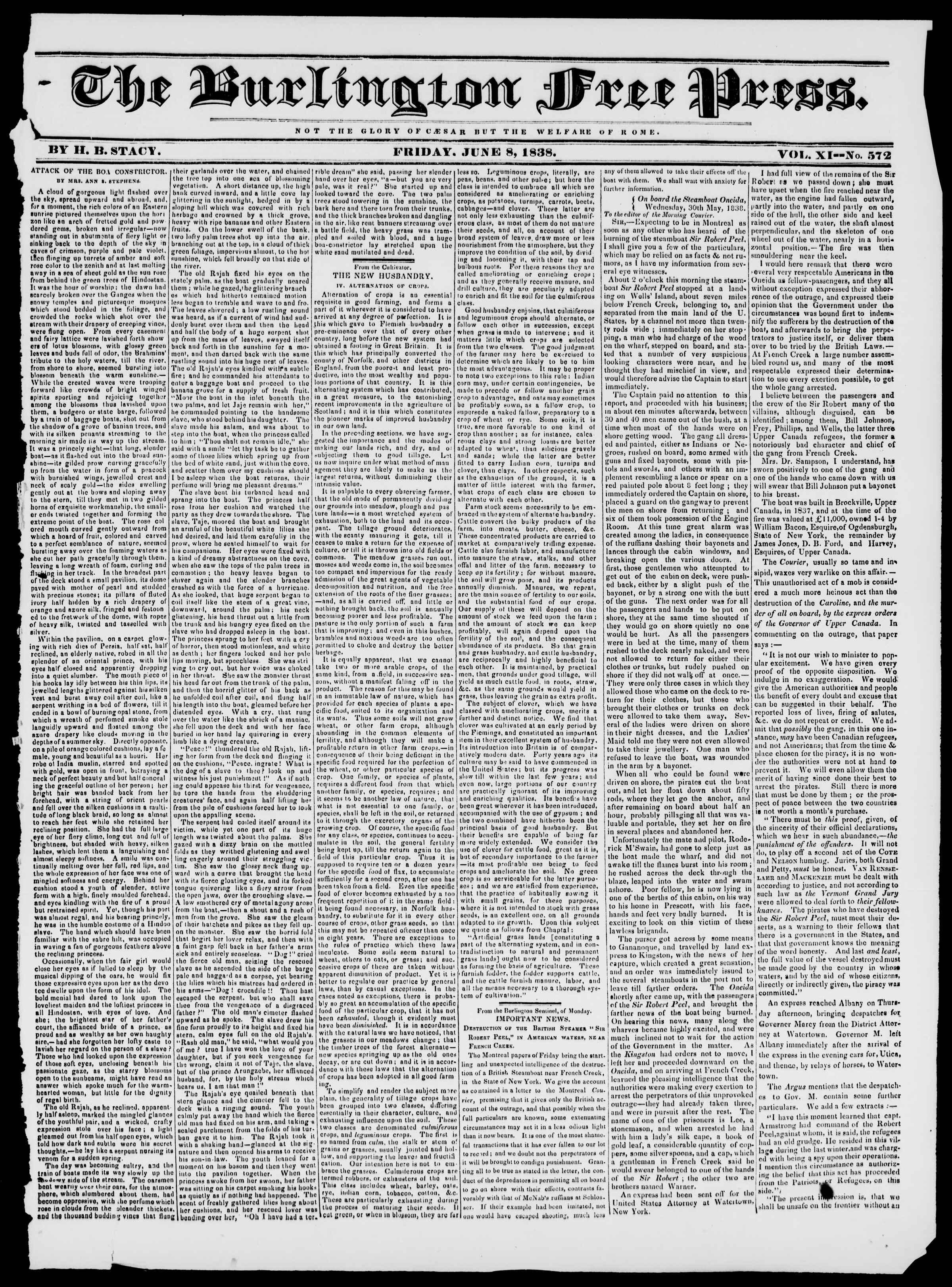 Newspaper of Burlington Free Press dated June 8, 1838 Page 1
