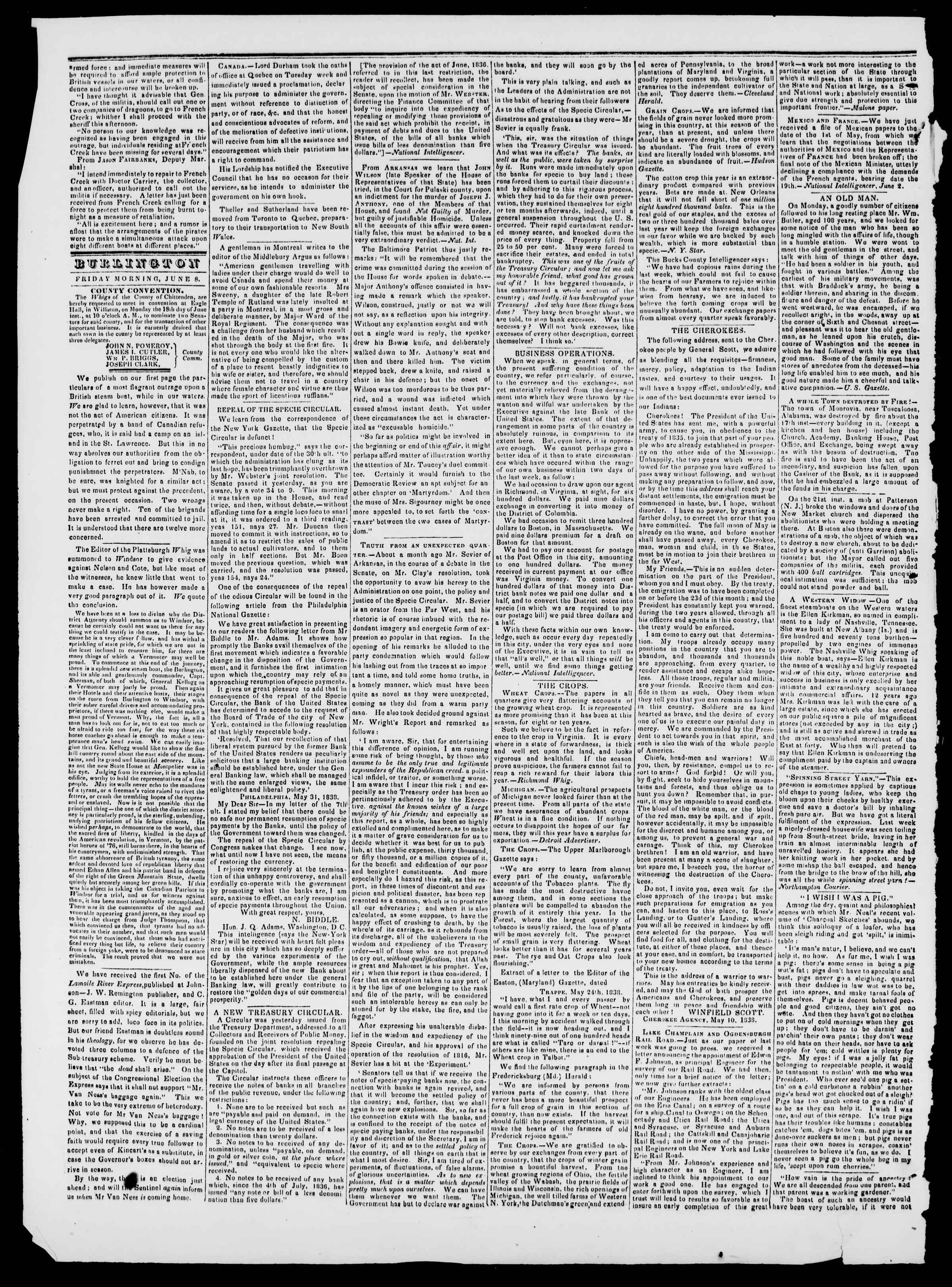 Newspaper of Burlington Free Press dated June 8, 1838 Page 2