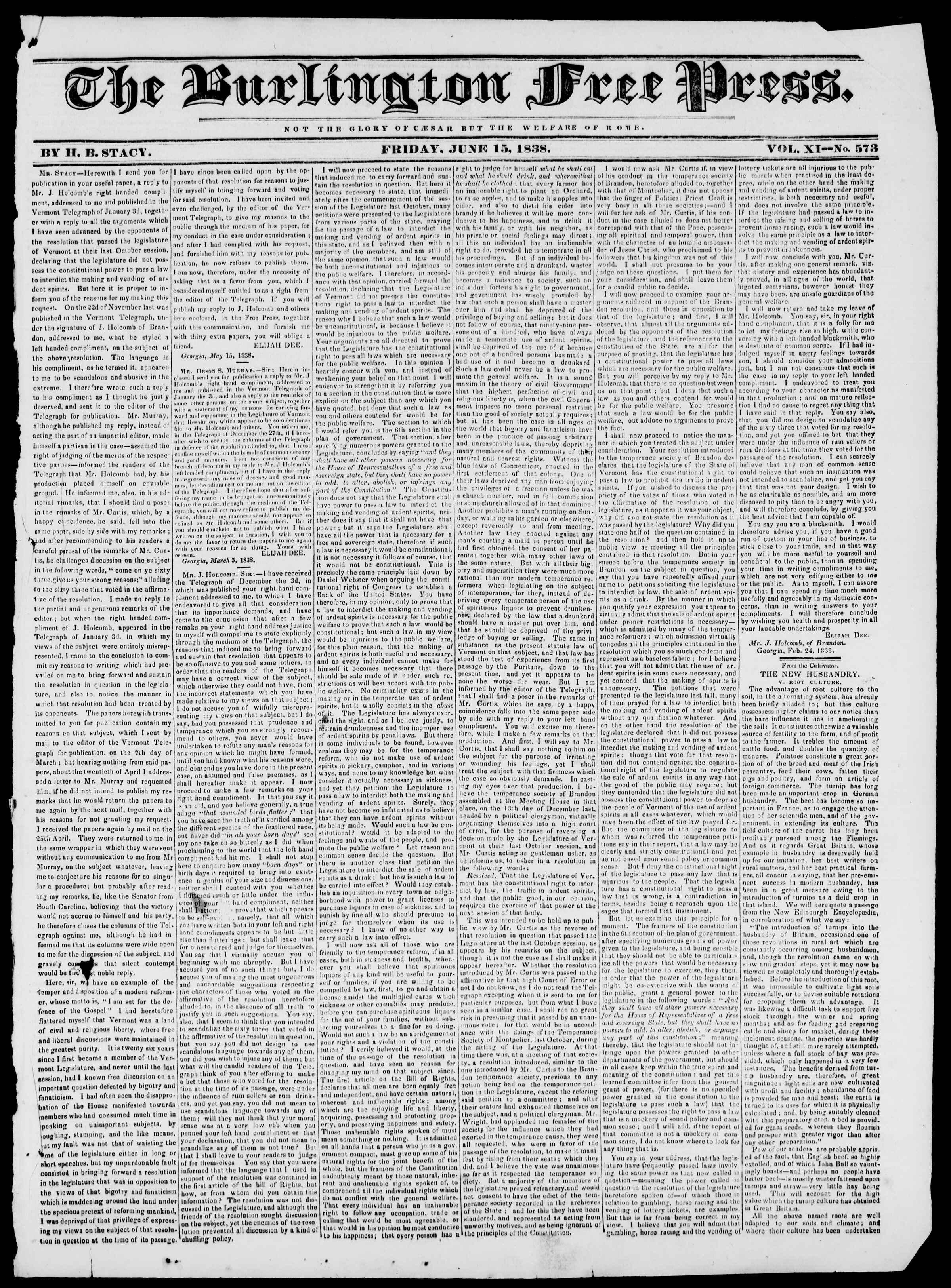 Newspaper of Burlington Free Press dated 15 Haziran 1838 Page 1