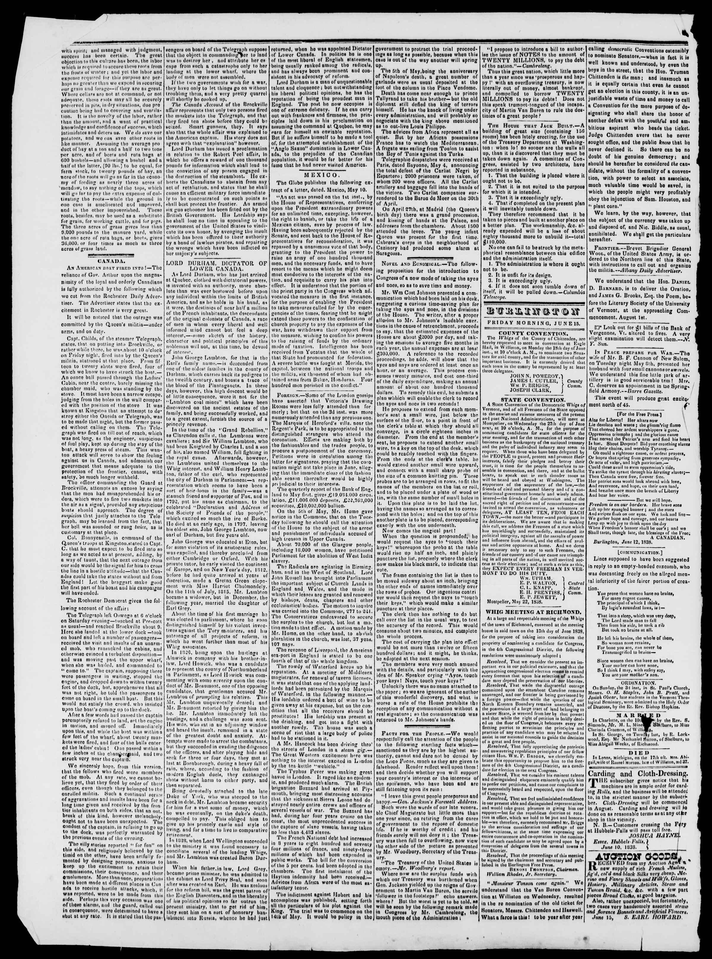 Newspaper of Burlington Free Press dated June 15, 1838 Page 2