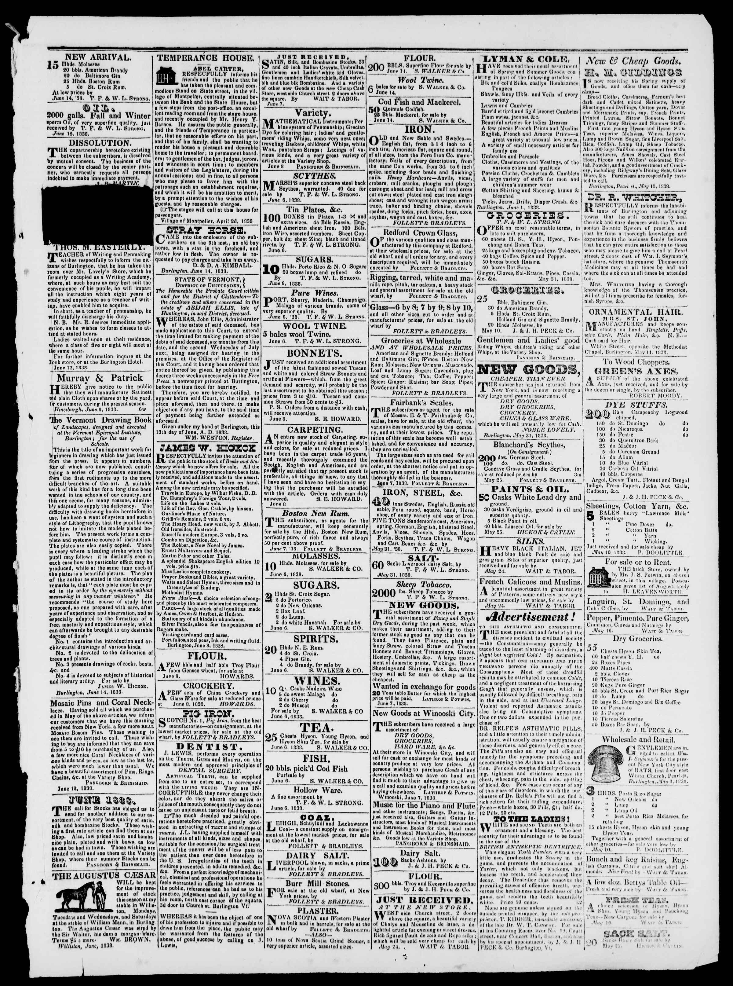 Newspaper of Burlington Free Press dated June 15, 1838 Page 3