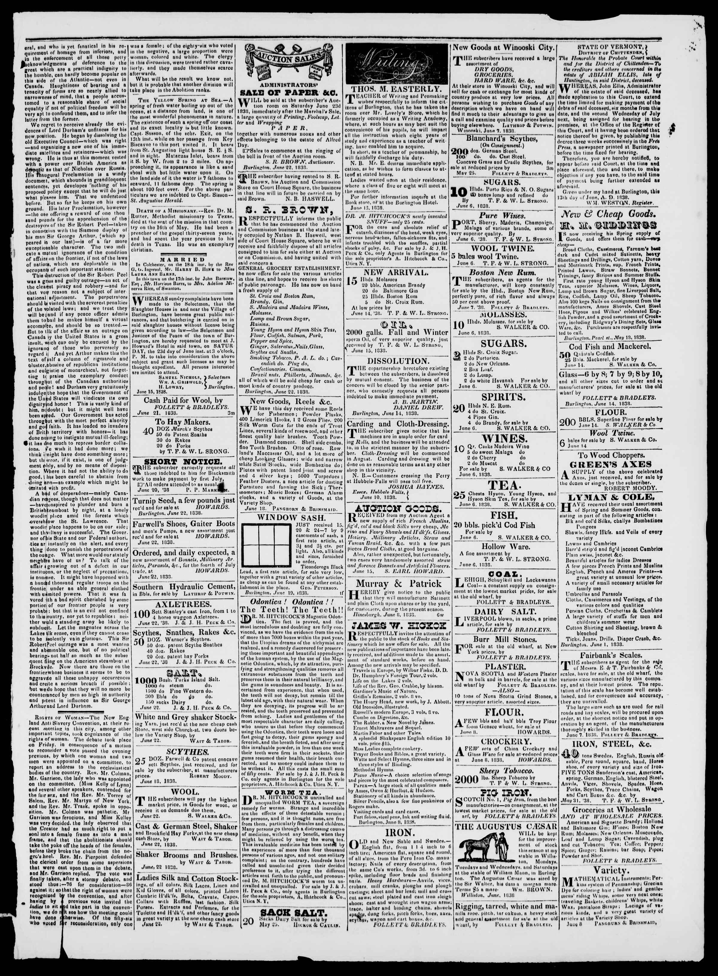 Newspaper of Burlington Free Press dated June 22, 1838 Page 3