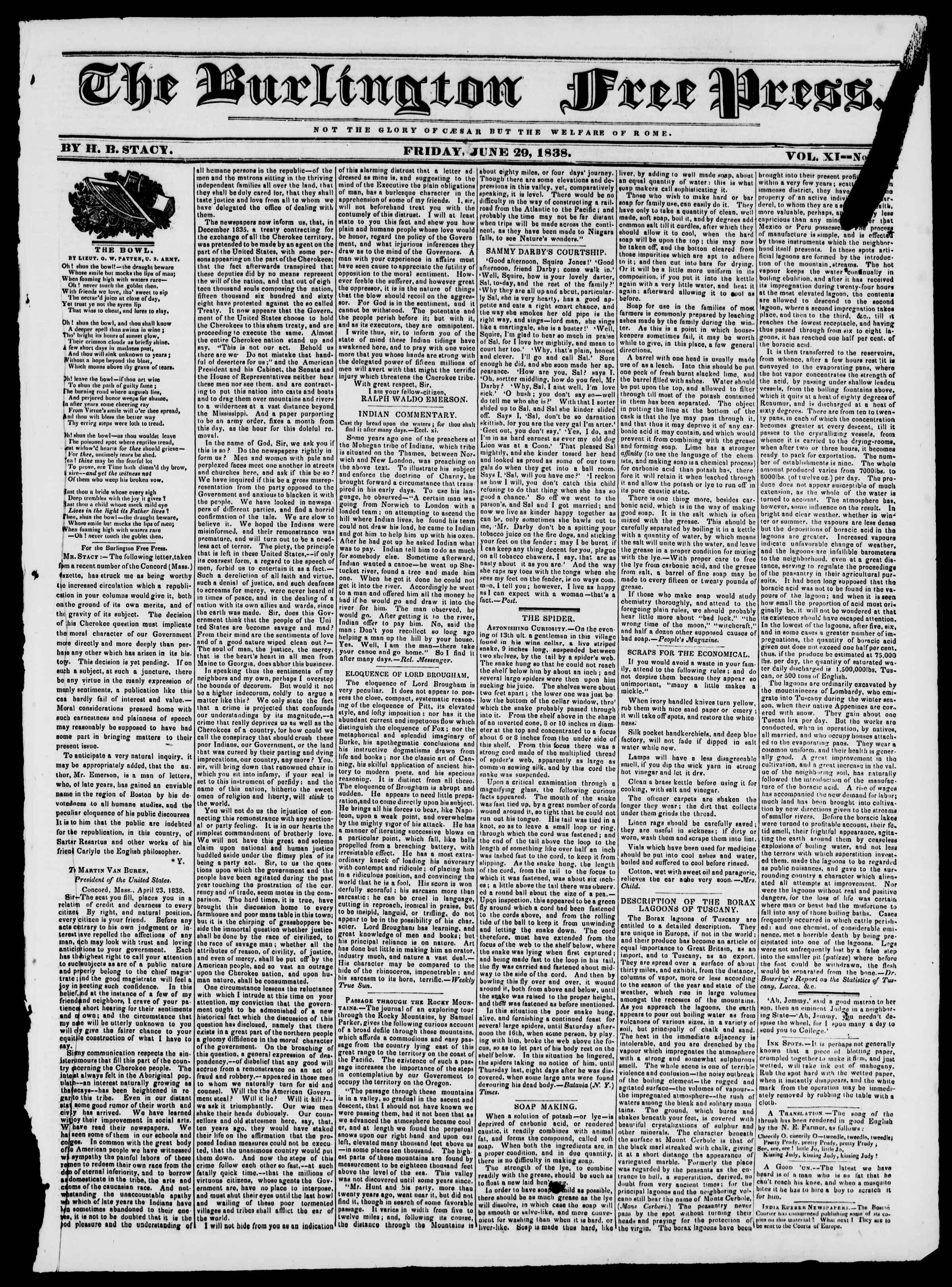 Newspaper of Burlington Free Press dated June 29, 1838 Page 1