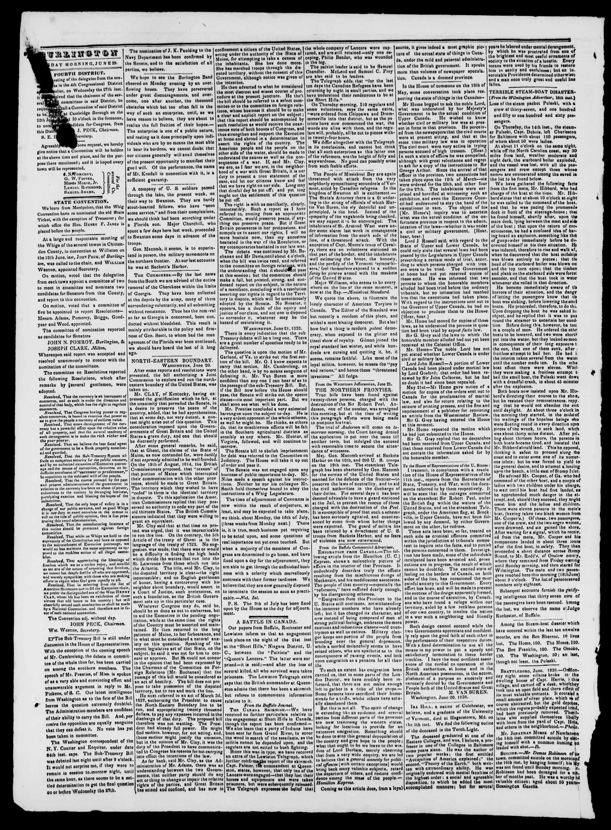 Newspaper of Burlington Free Press dated 29 Haziran 1838 Page 2
