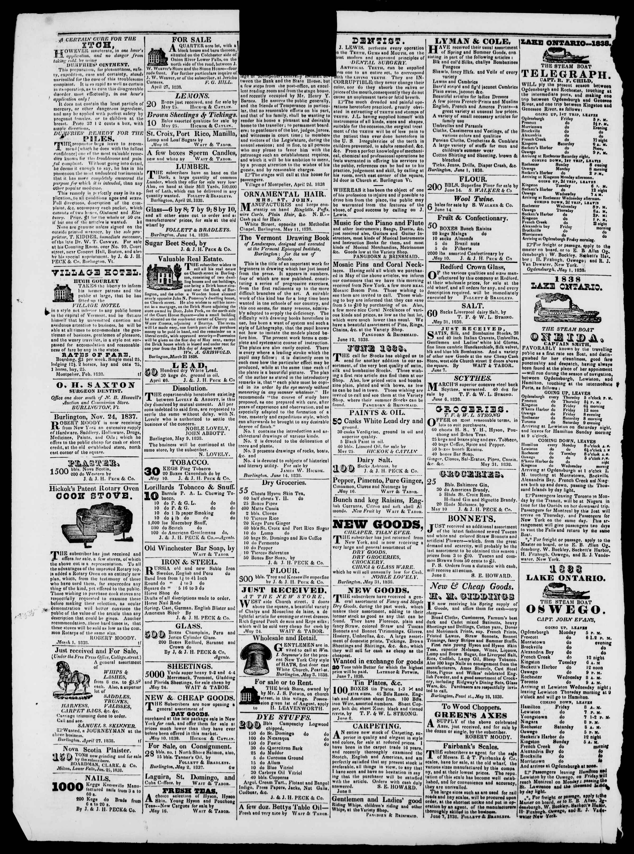 Newspaper of Burlington Free Press dated June 29, 1838 Page 4