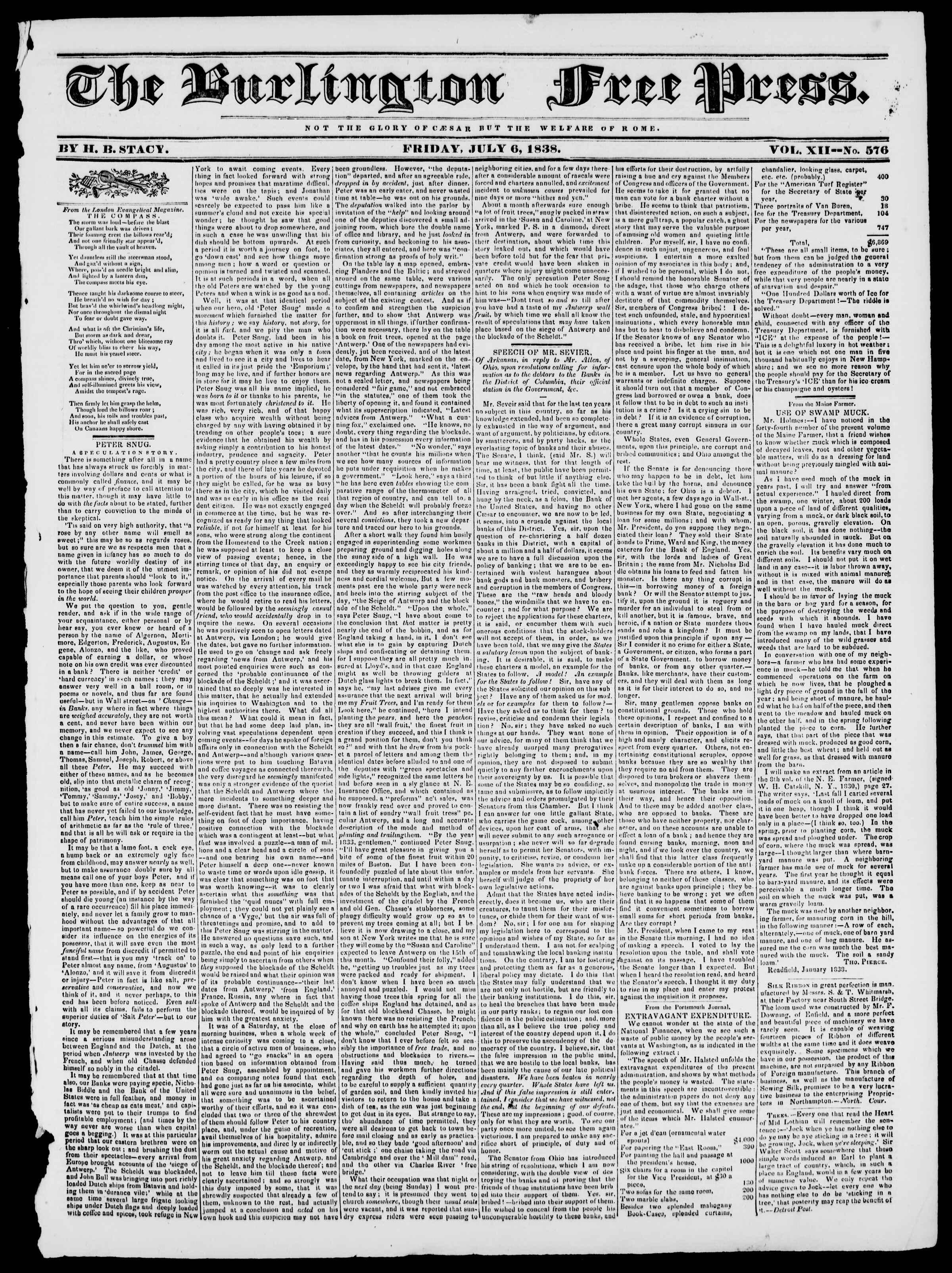 Newspaper of Burlington Free Press dated July 6, 1838 Page 1