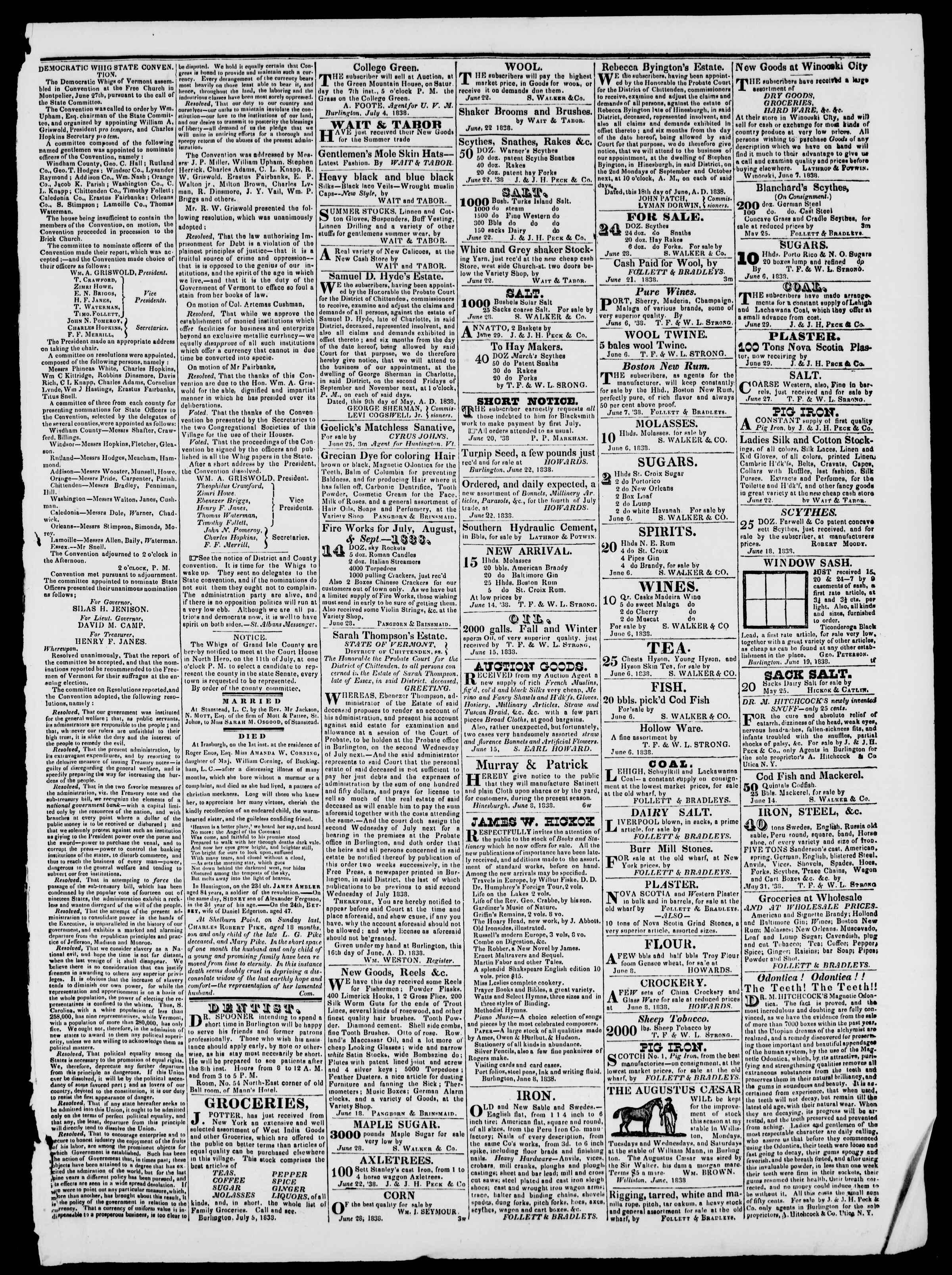 Newspaper of Burlington Free Press dated July 6, 1838 Page 3