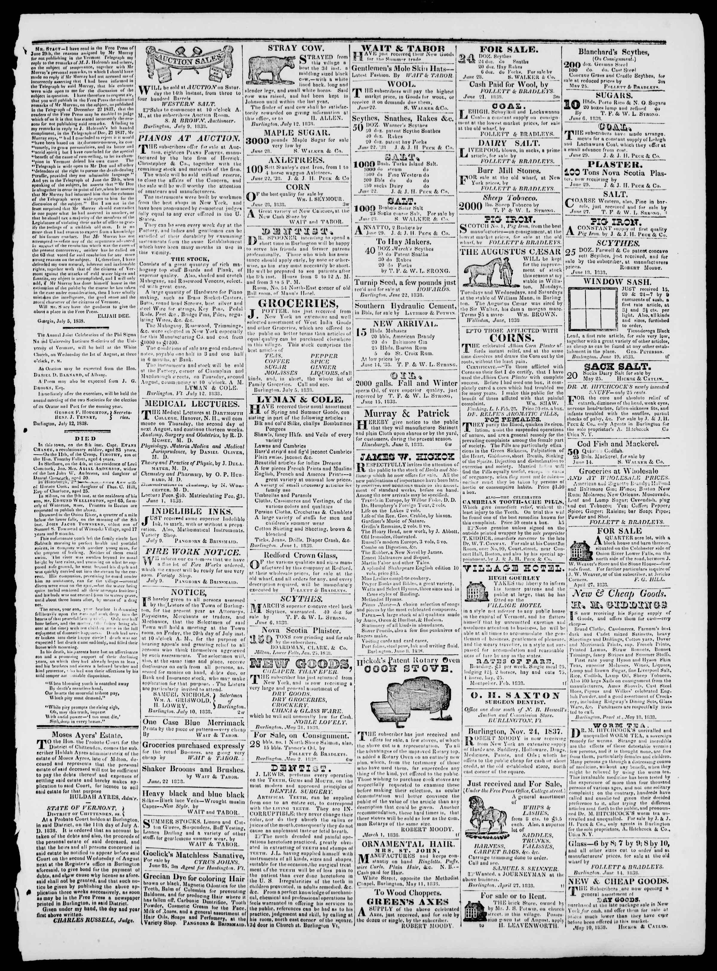 Newspaper of Burlington Free Press dated July 13, 1838 Page 3