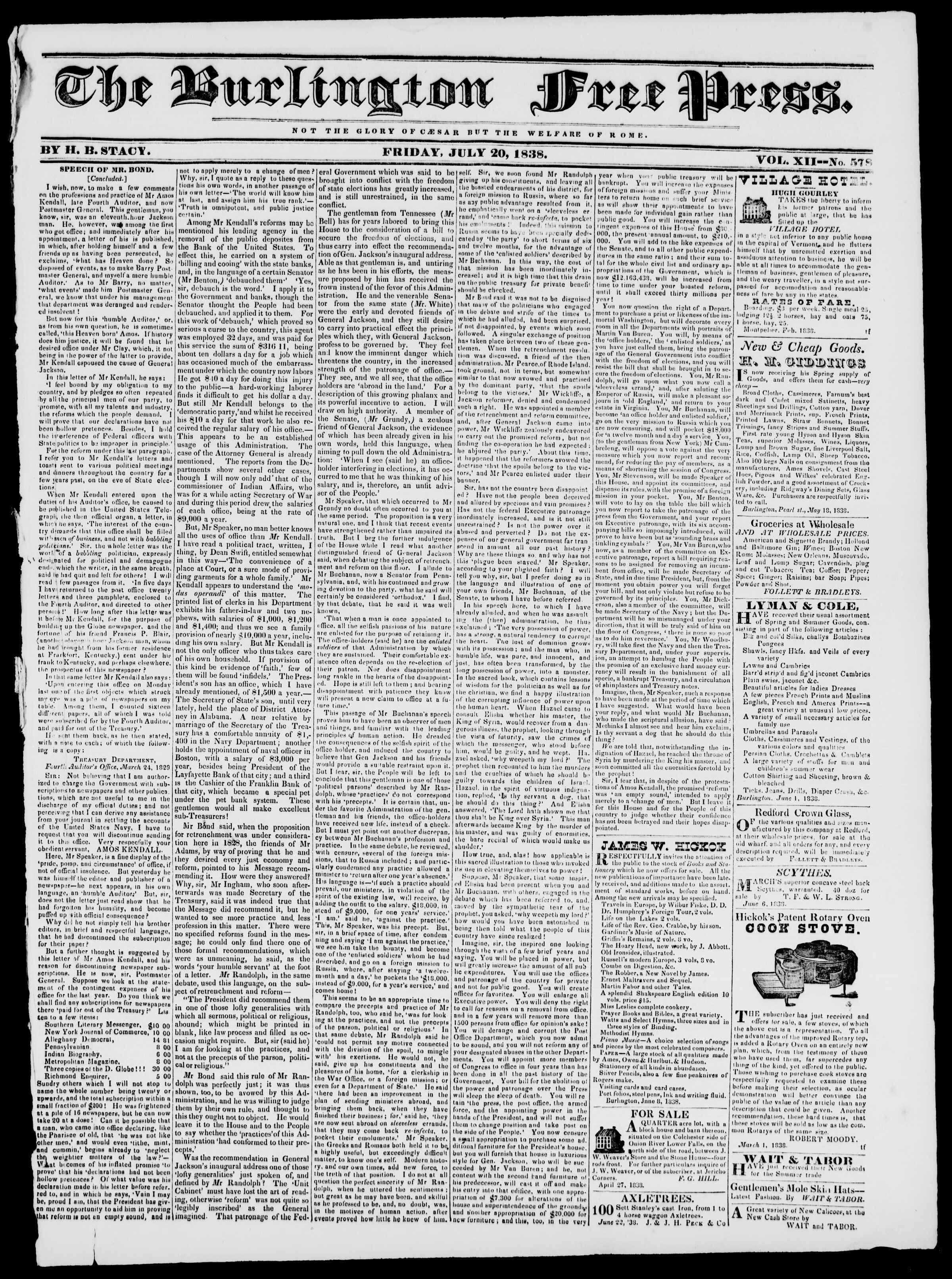 Newspaper of Burlington Free Press dated July 20, 1838 Page 1