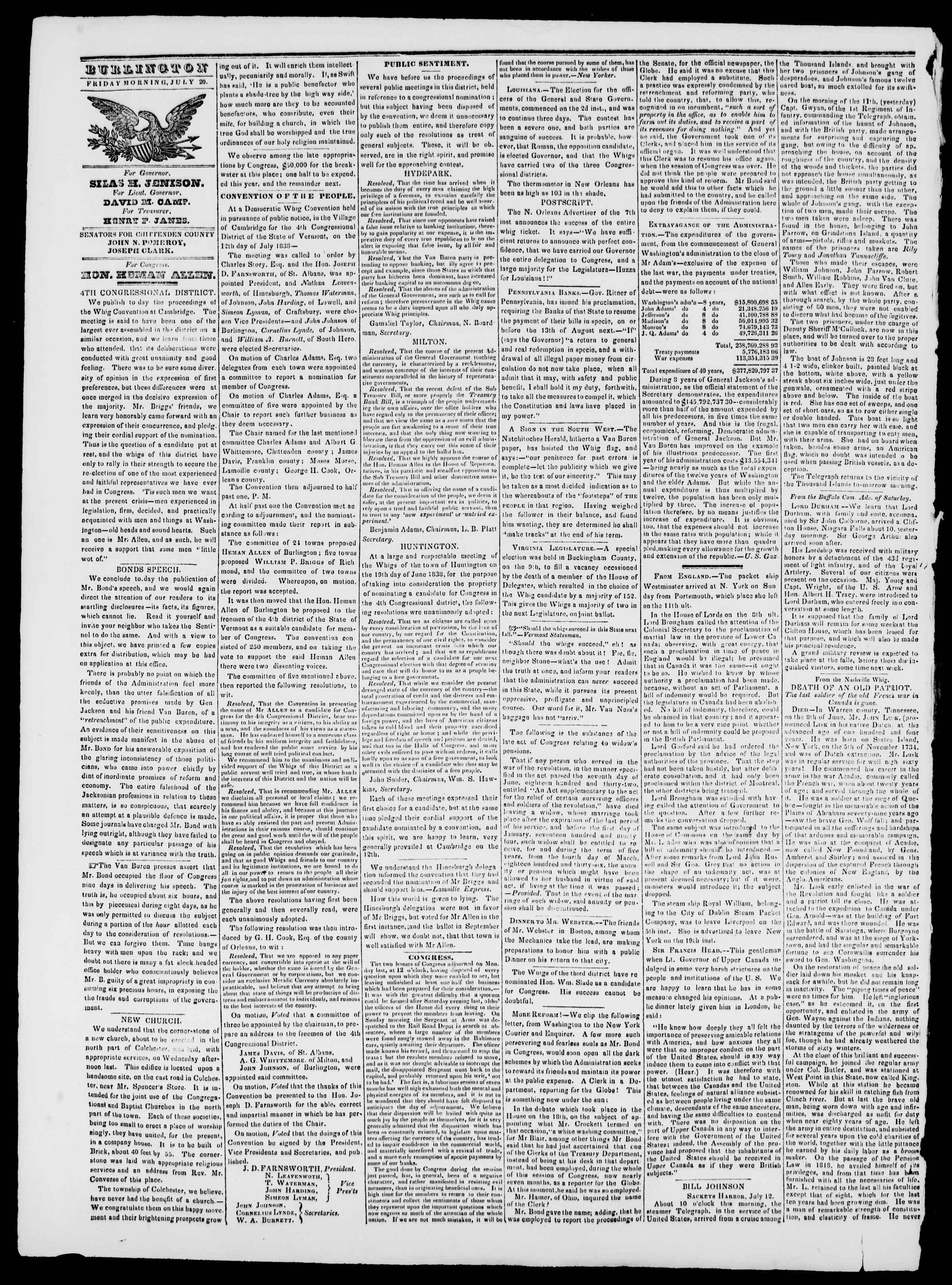 Newspaper of Burlington Free Press dated July 20, 1838 Page 2