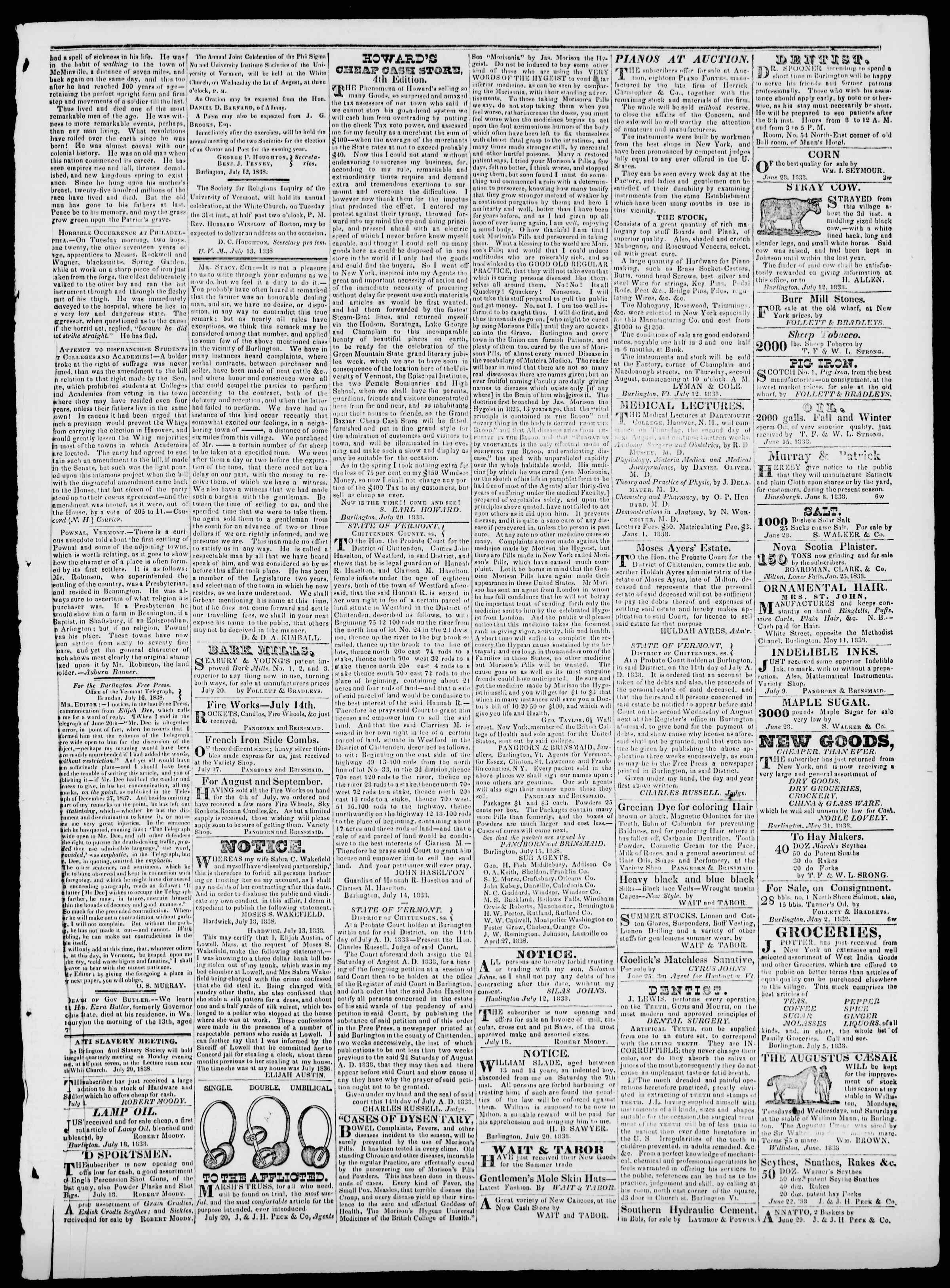 Newspaper of Burlington Free Press dated July 20, 1838 Page 3