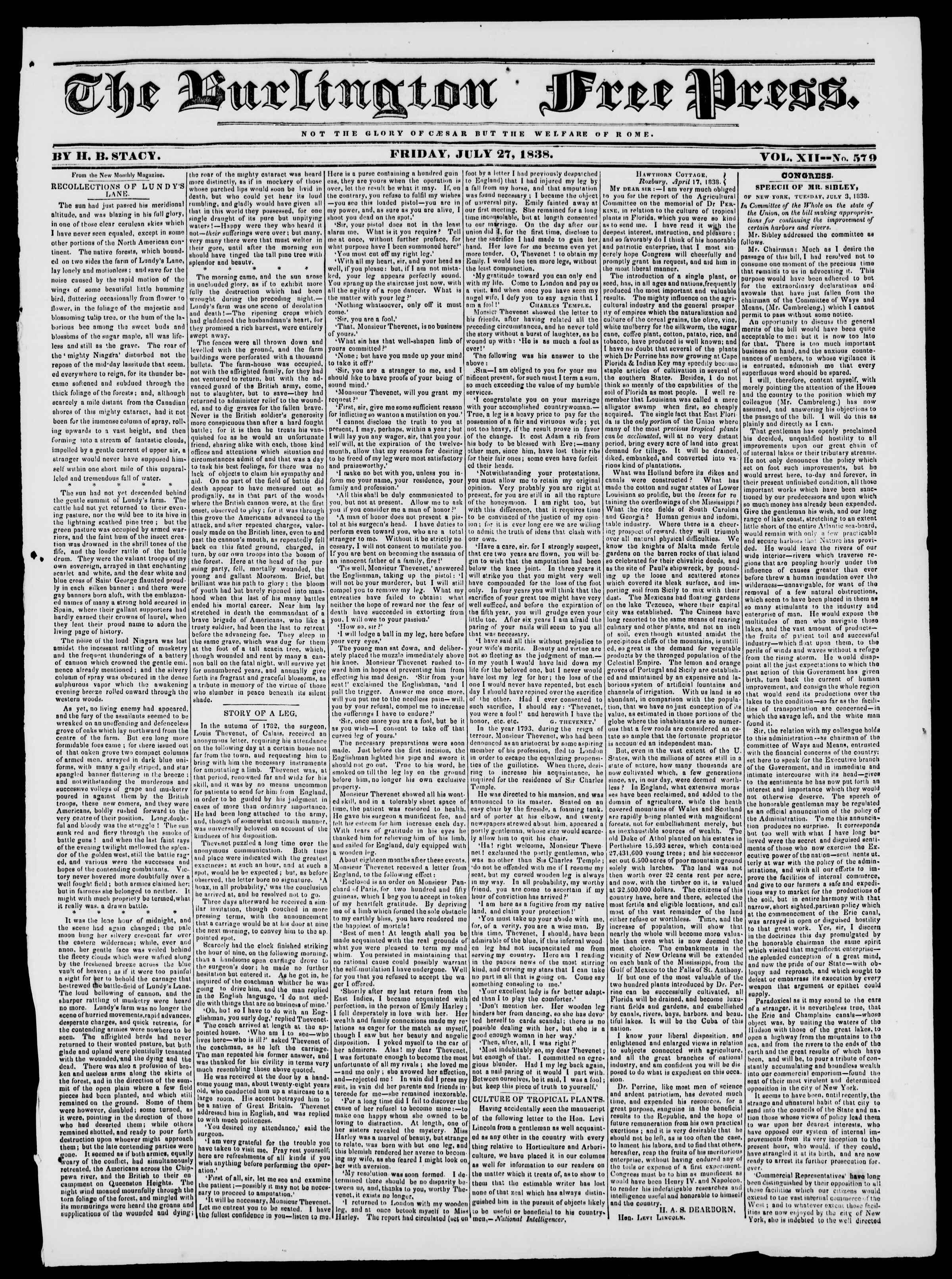 Newspaper of Burlington Free Press dated July 27, 1838 Page 1