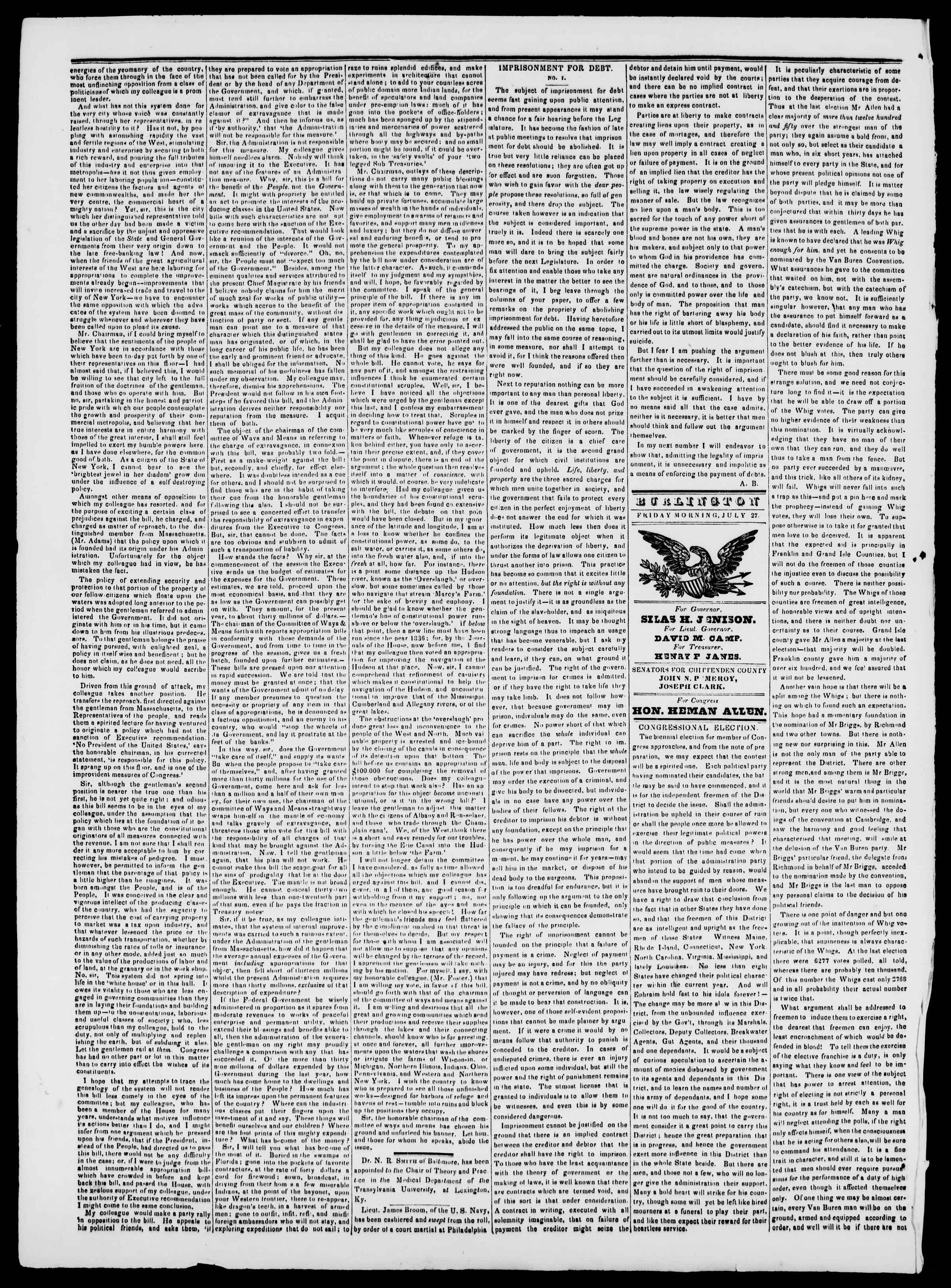 Newspaper of Burlington Free Press dated July 27, 1838 Page 2