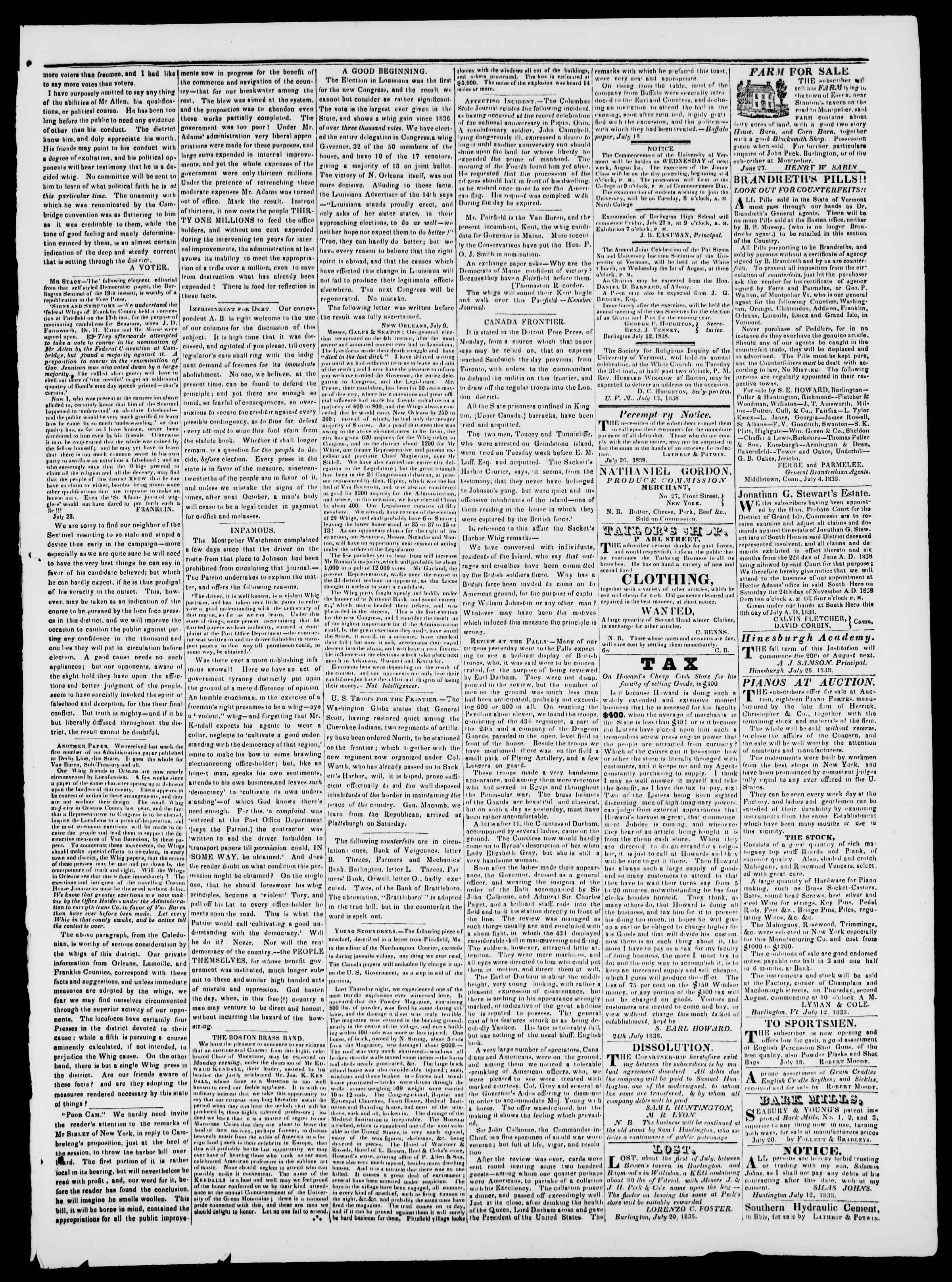 Newspaper of Burlington Free Press dated July 27, 1838 Page 3