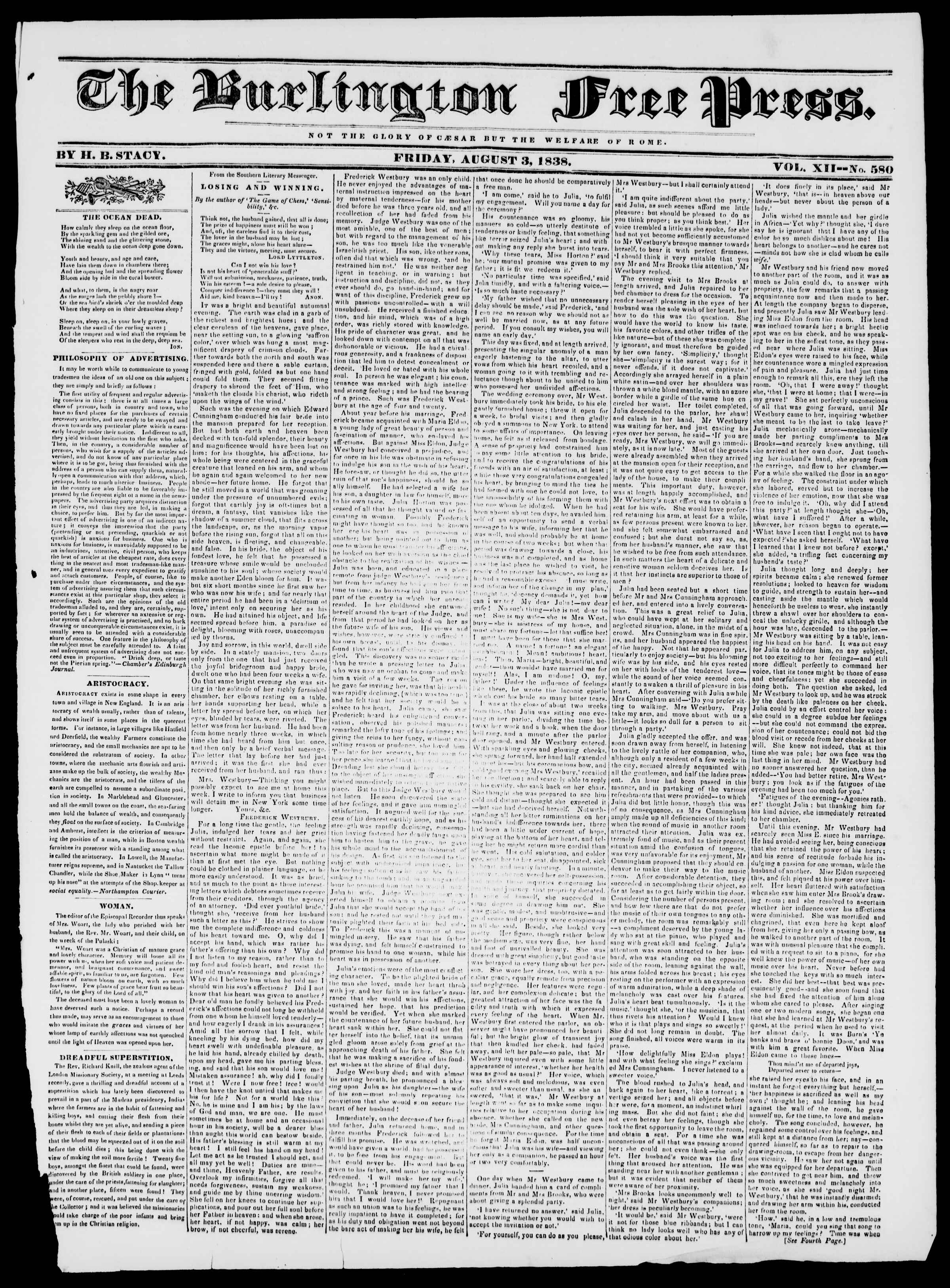Newspaper of Burlington Free Press dated August 3, 1838 Page 1