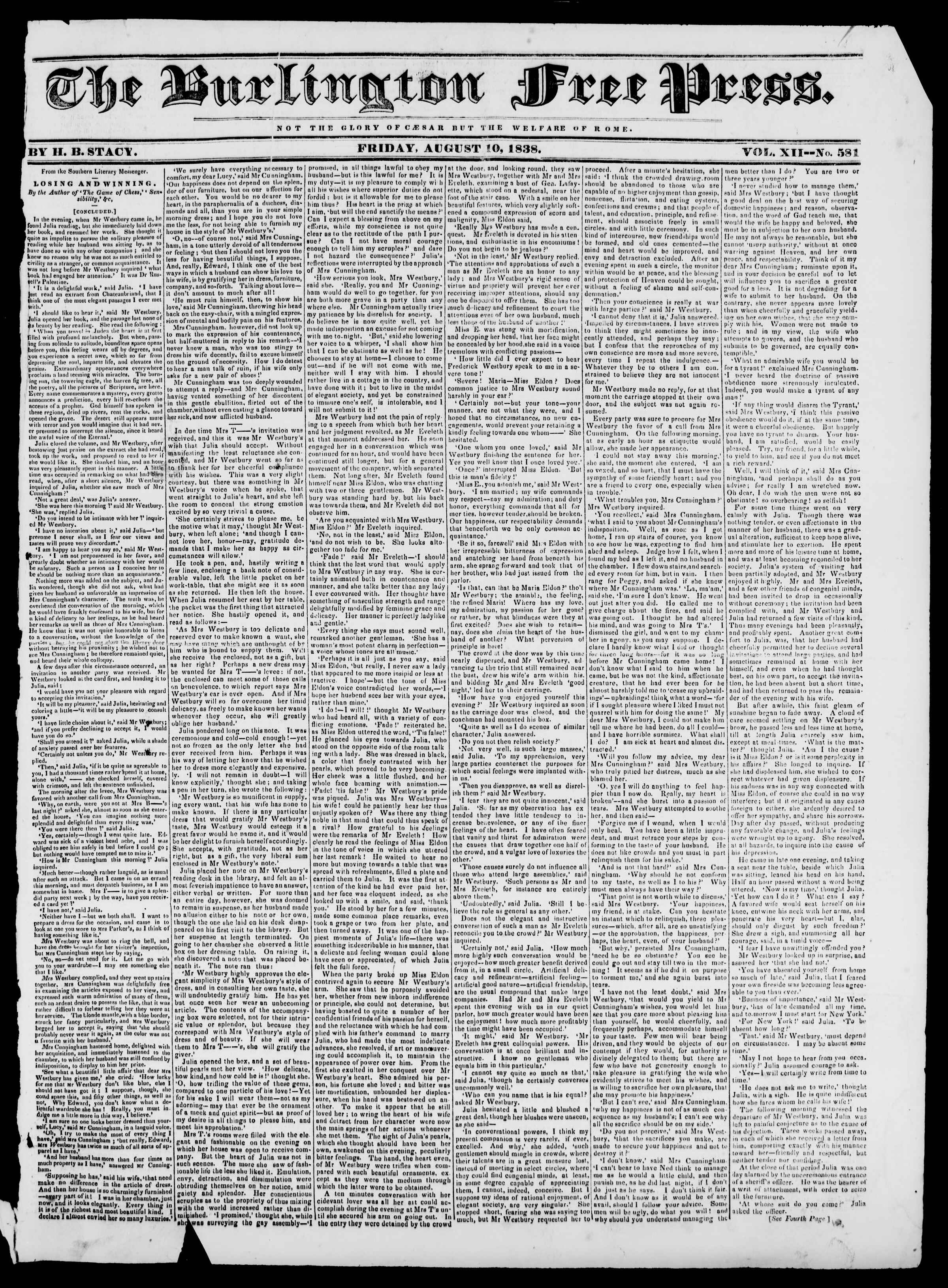 Newspaper of Burlington Free Press dated August 10, 1838 Page 1