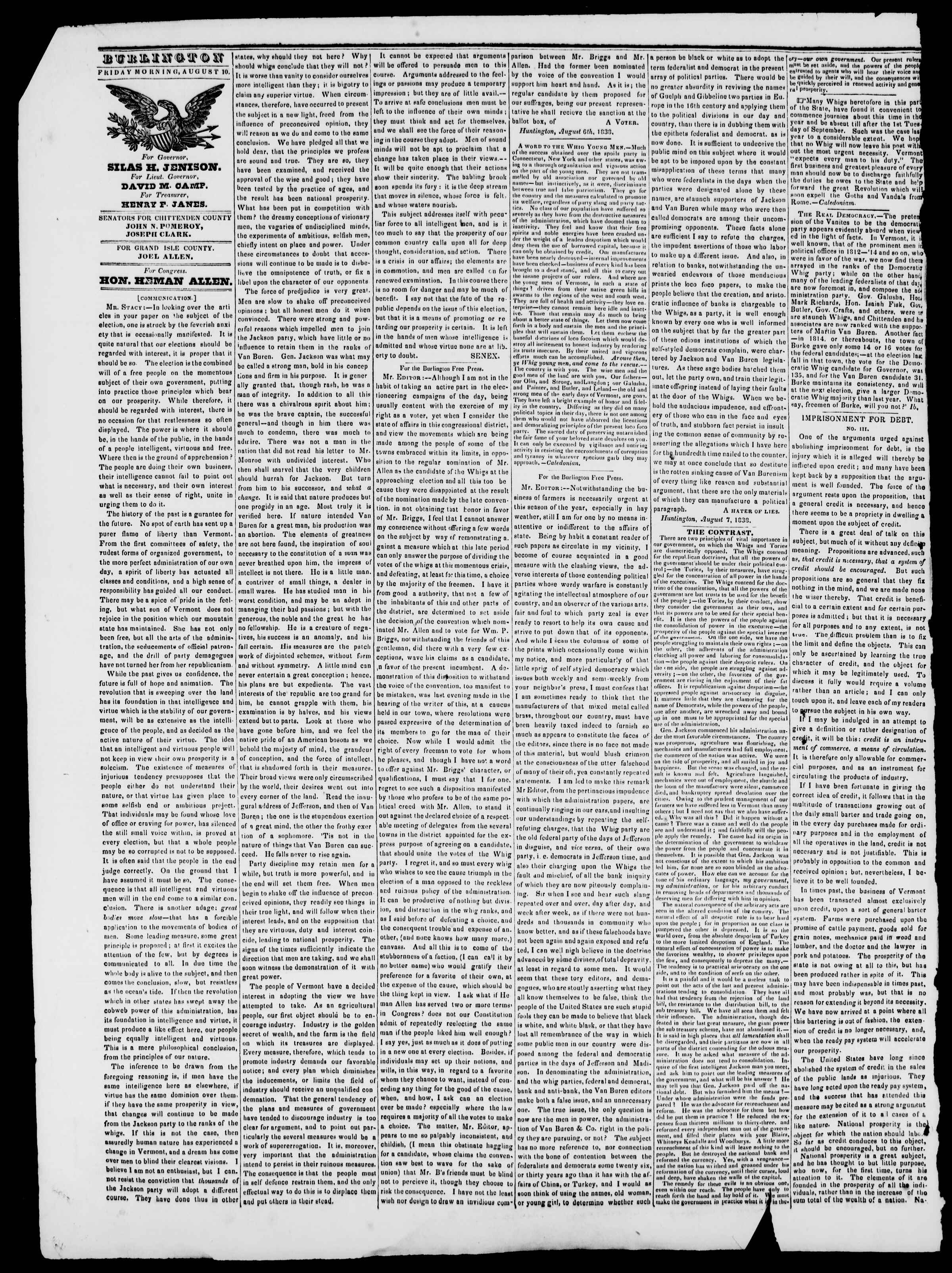Newspaper of Burlington Free Press dated August 10, 1838 Page 2